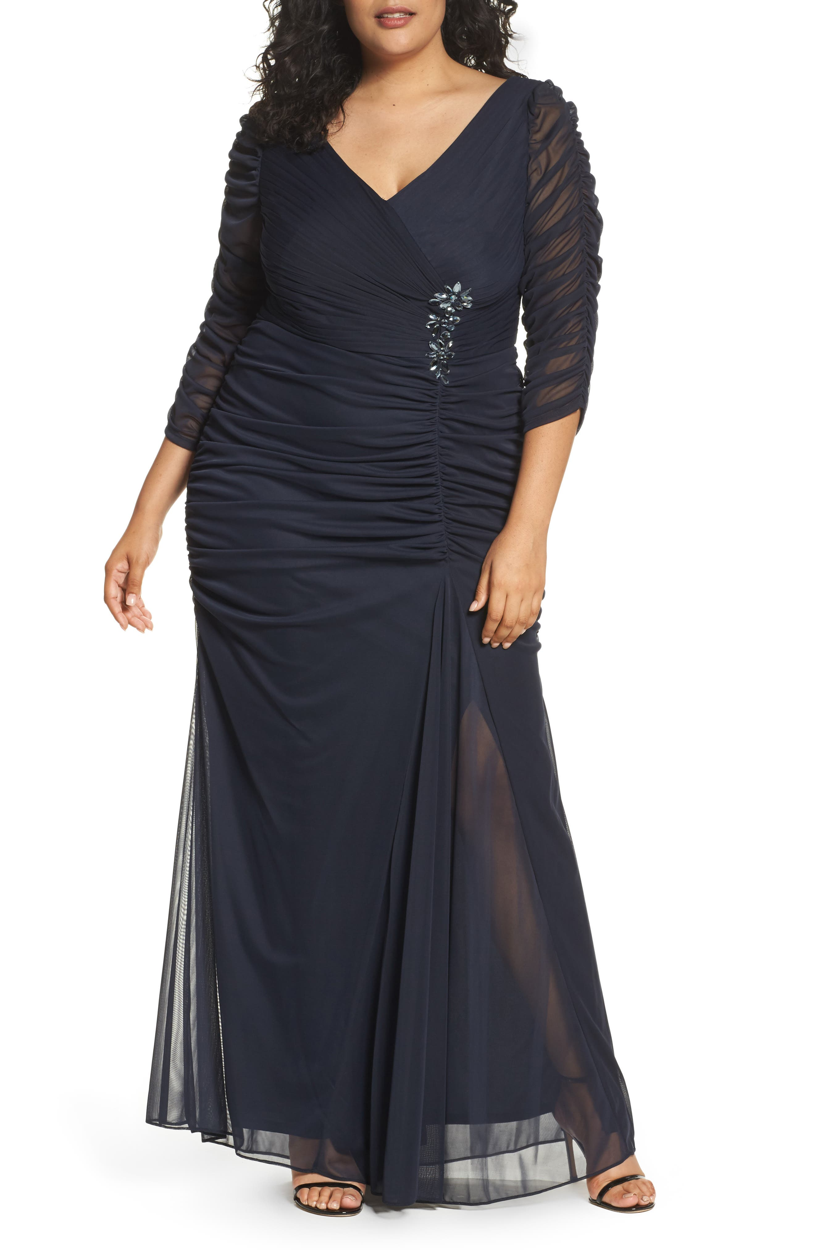 Beaded Mesh Gown,                         Main,                         color, 400