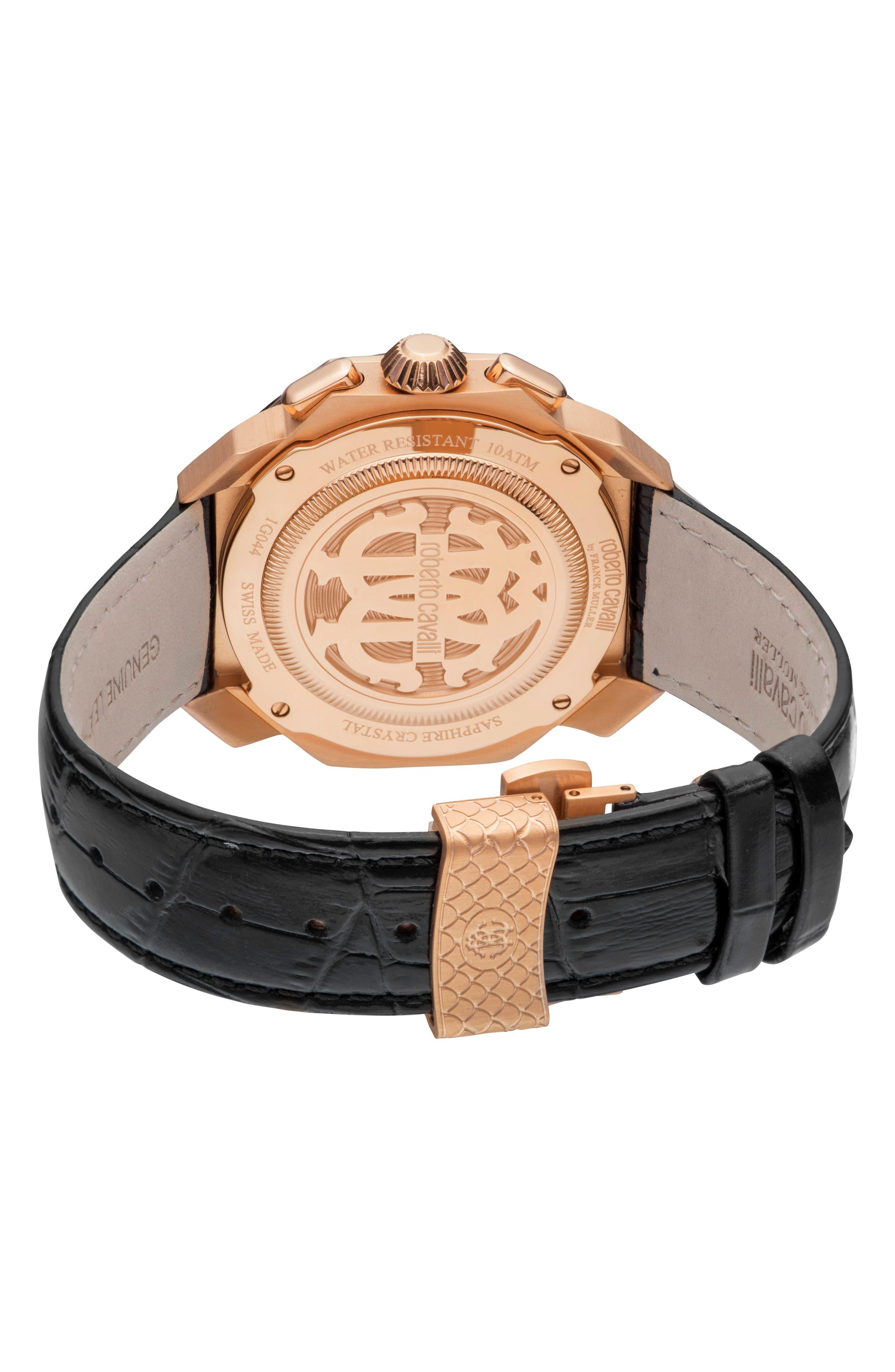 Sport Chronograph Leather Strap Watch,                             Alternate thumbnail 2, color,                             BLACK/ ROSE GOLD/ BLACK