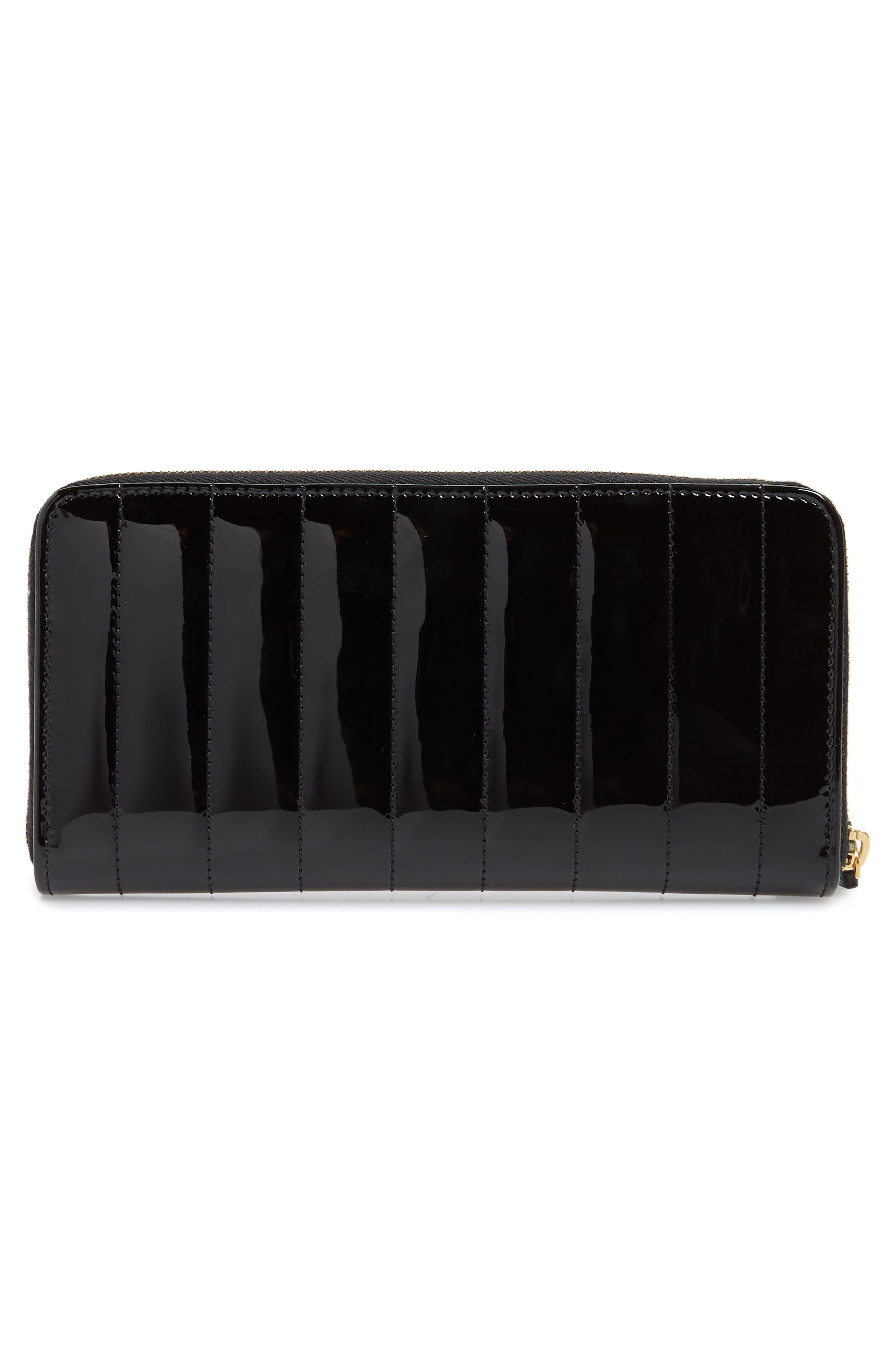 SAINT LAURENT,                             Vicky Patent Leather Zip Around Wallet,                             Alternate thumbnail 3, color,                             NOIR
