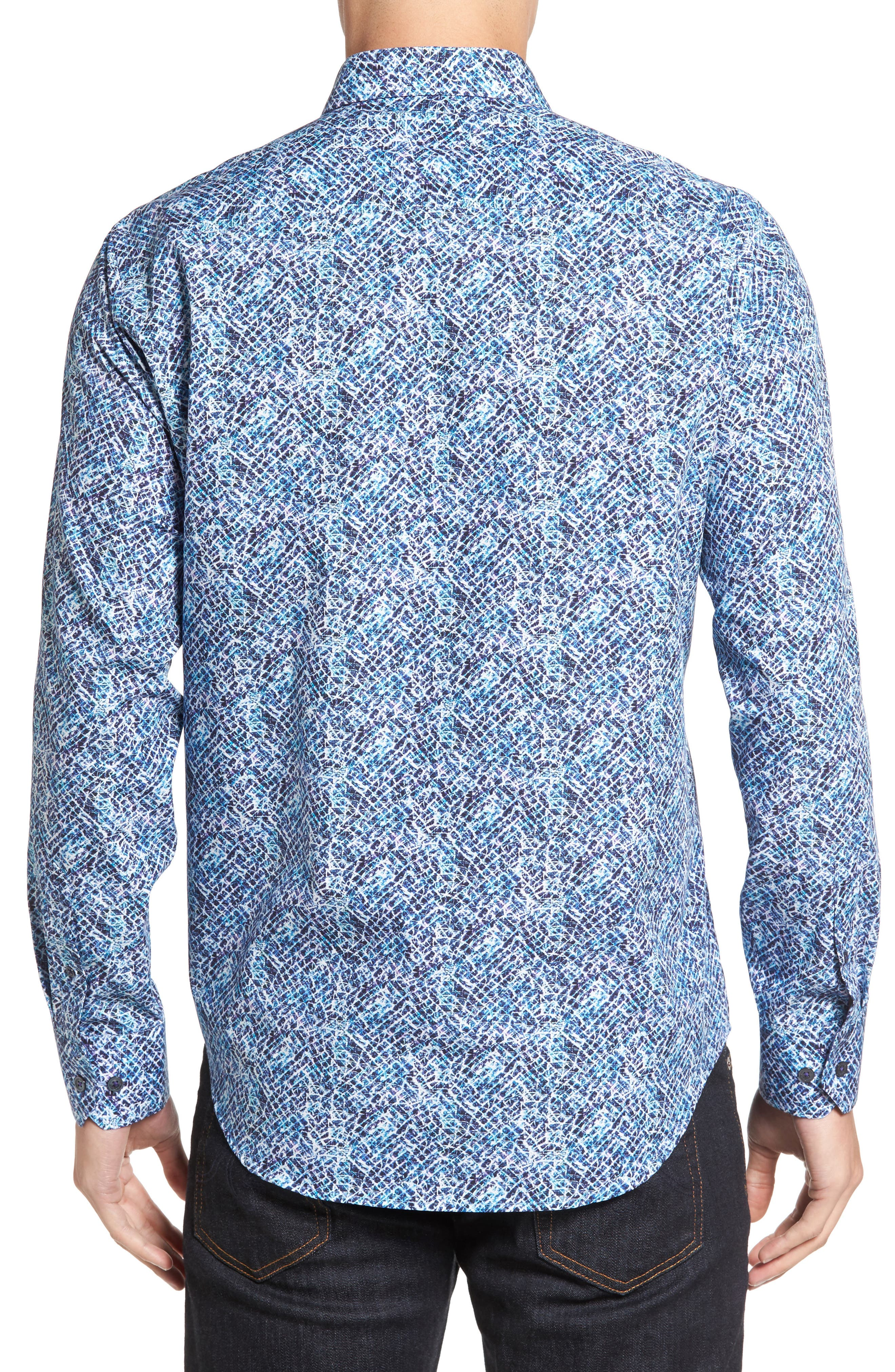 Classic Fit Print Sport Shirt,                             Alternate thumbnail 2, color,                             408