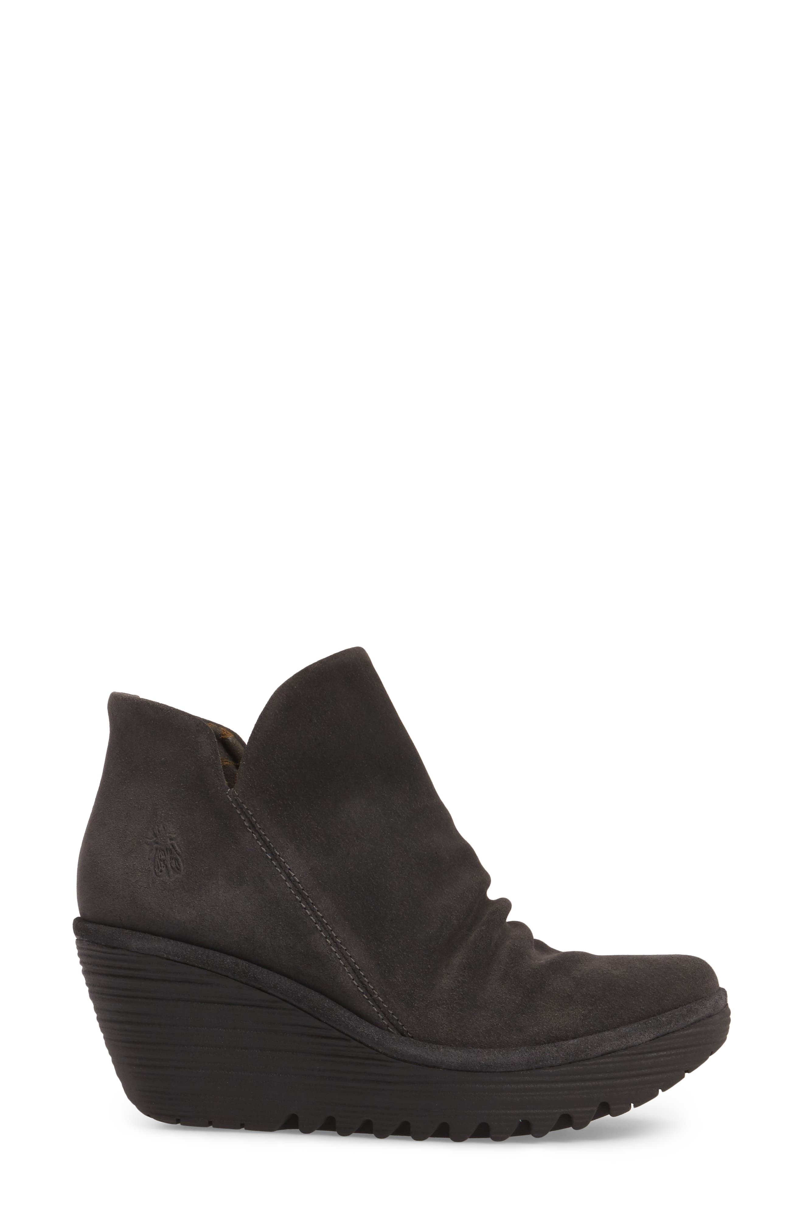 'Yip' Wedge Bootie,                             Alternate thumbnail 3, color,                             BLACK
