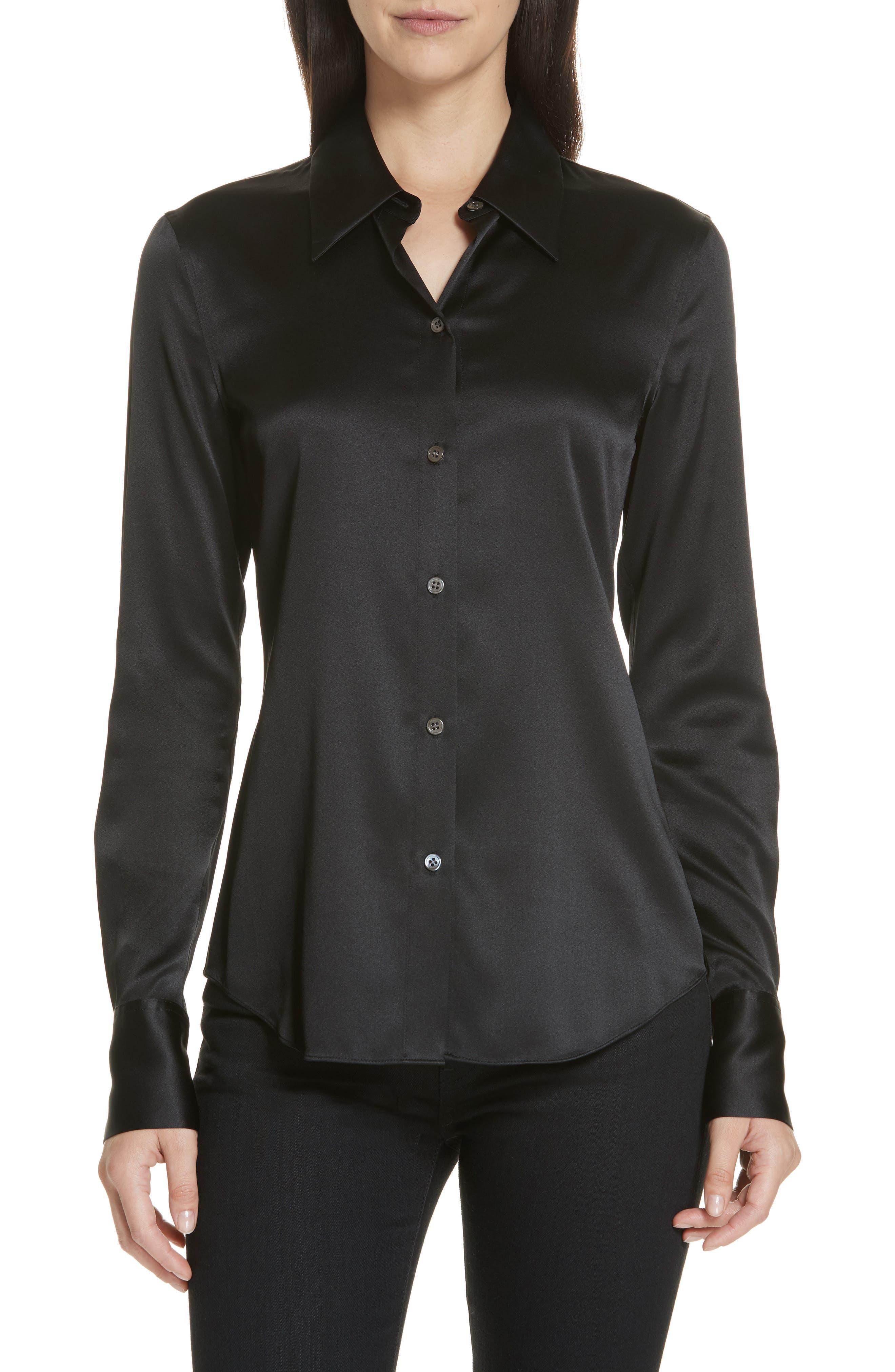 Perfect Fit Stretch Silk Blouse,                             Main thumbnail 1, color,                             BLACK