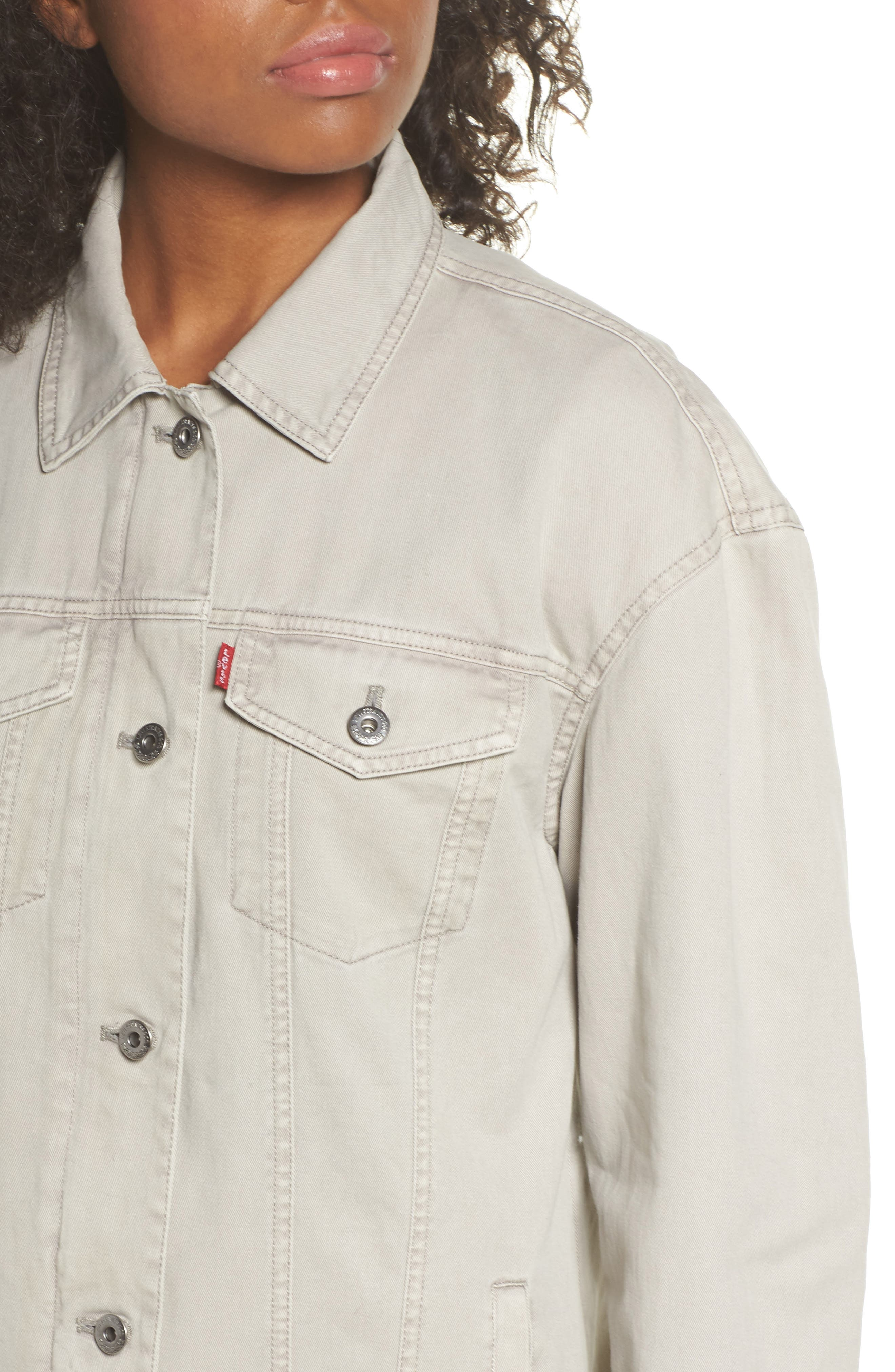 Oversize Cotton Canvas Trucker Jacket,                             Alternate thumbnail 4, color,                             030