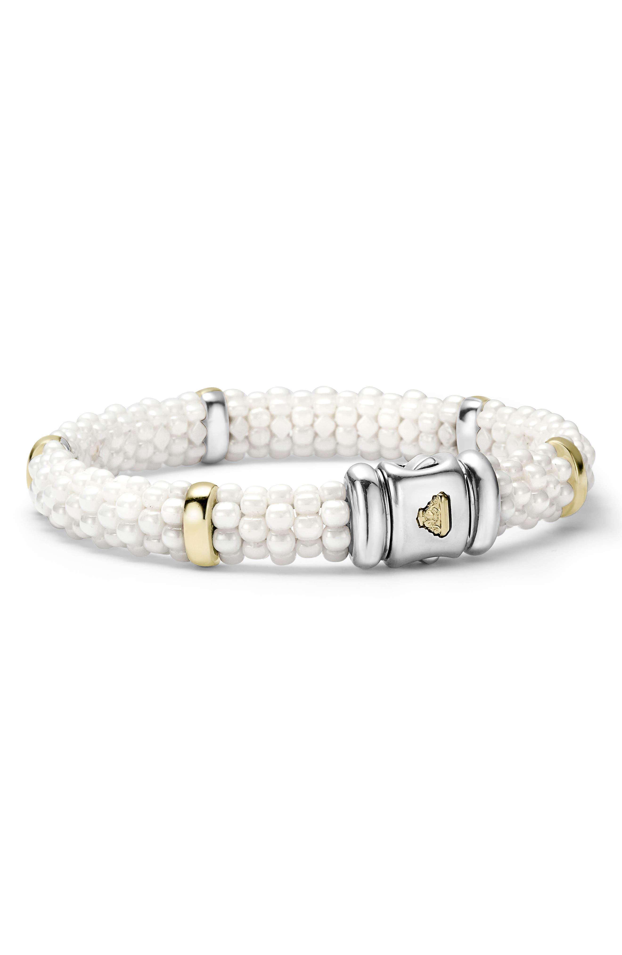 White Caviar Station Bracelet,                             Alternate thumbnail 3, color,                             WHITE CAVIAR