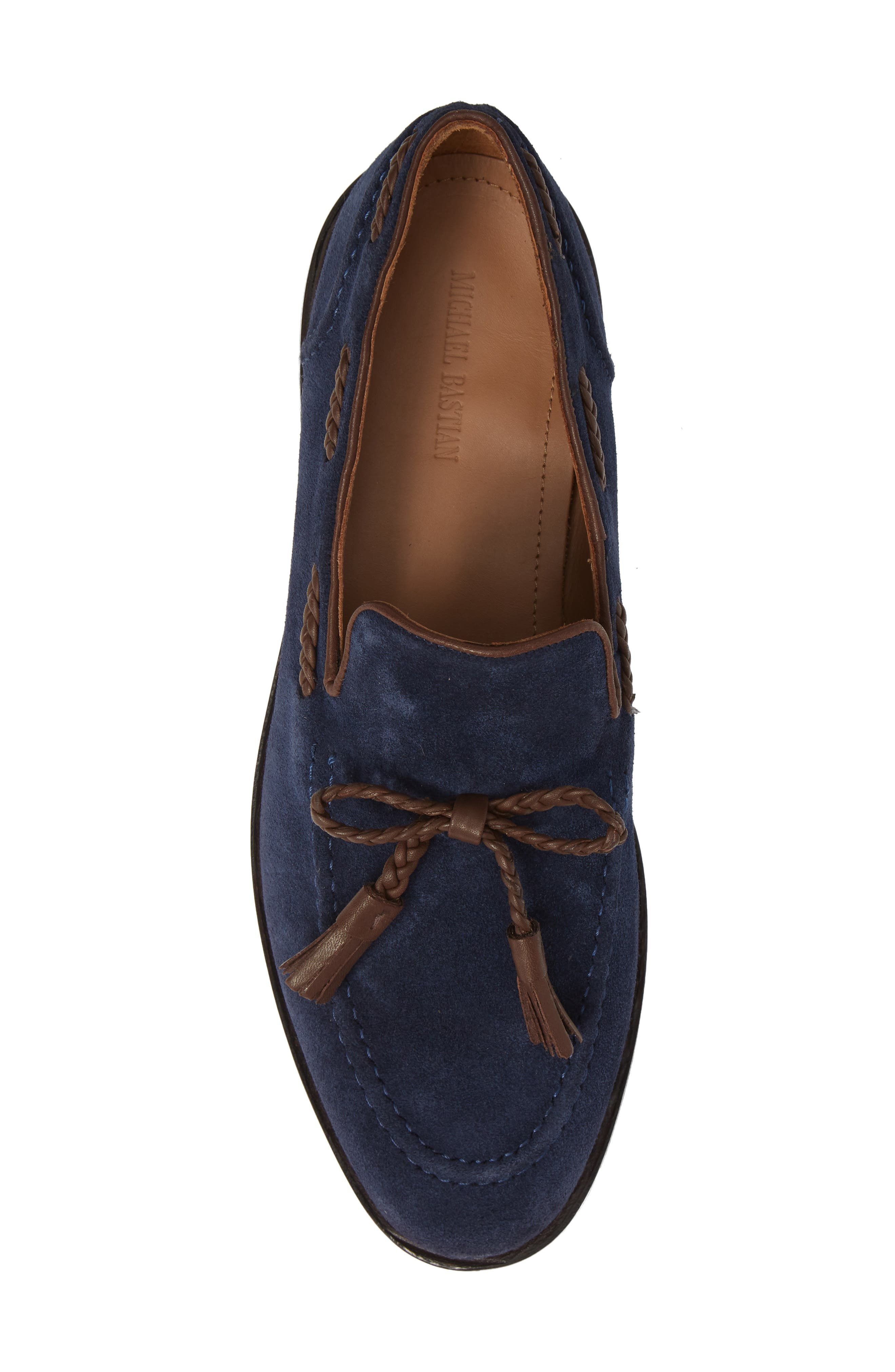 Braided Tassel Loafer,                             Alternate thumbnail 5, color,                             NAVY SUEDE