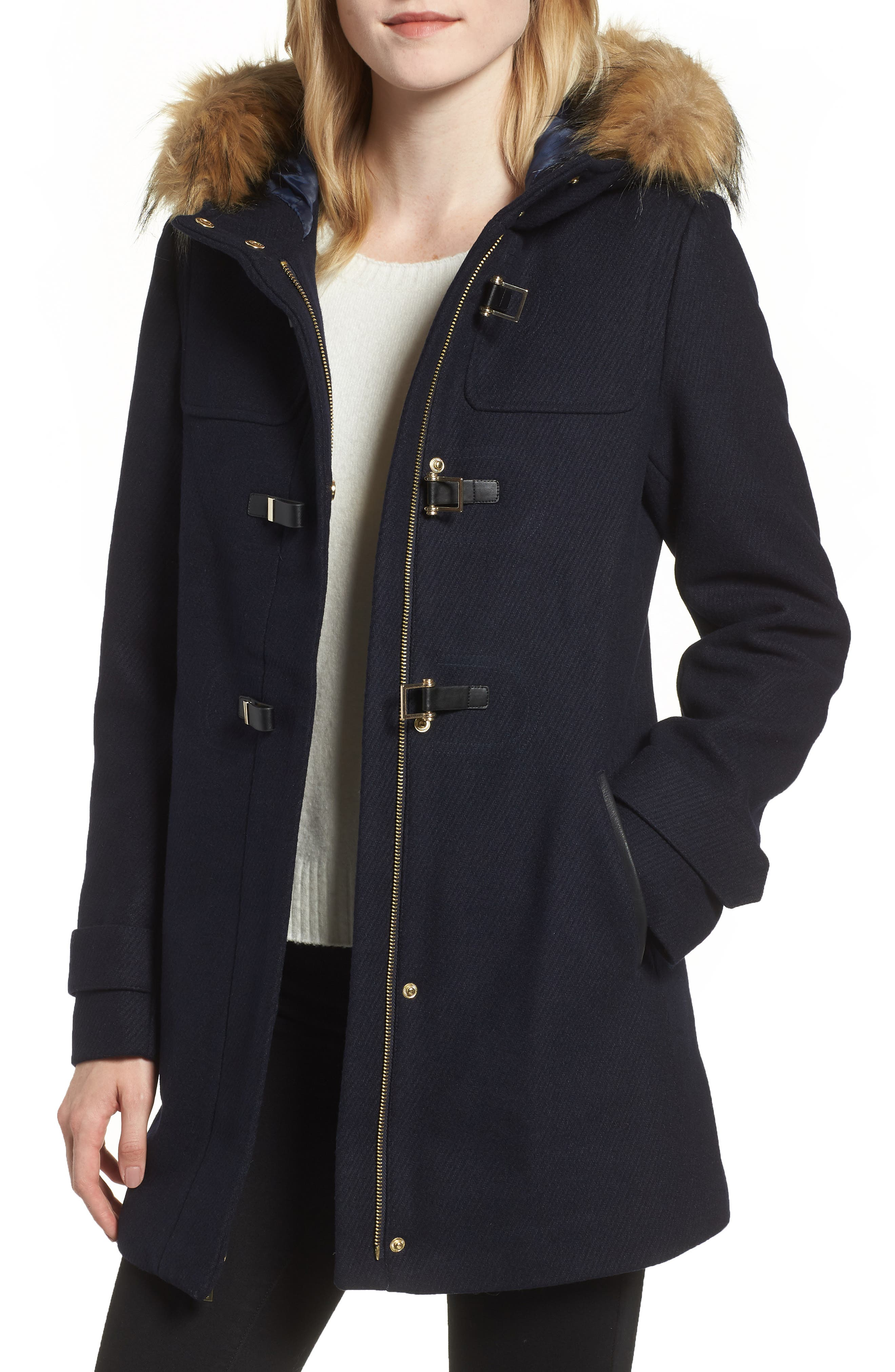 Cole Haan Hooded Duffle Coat with Faux Fur Trim,                             Main thumbnail 1, color,                             MIDNIGHT