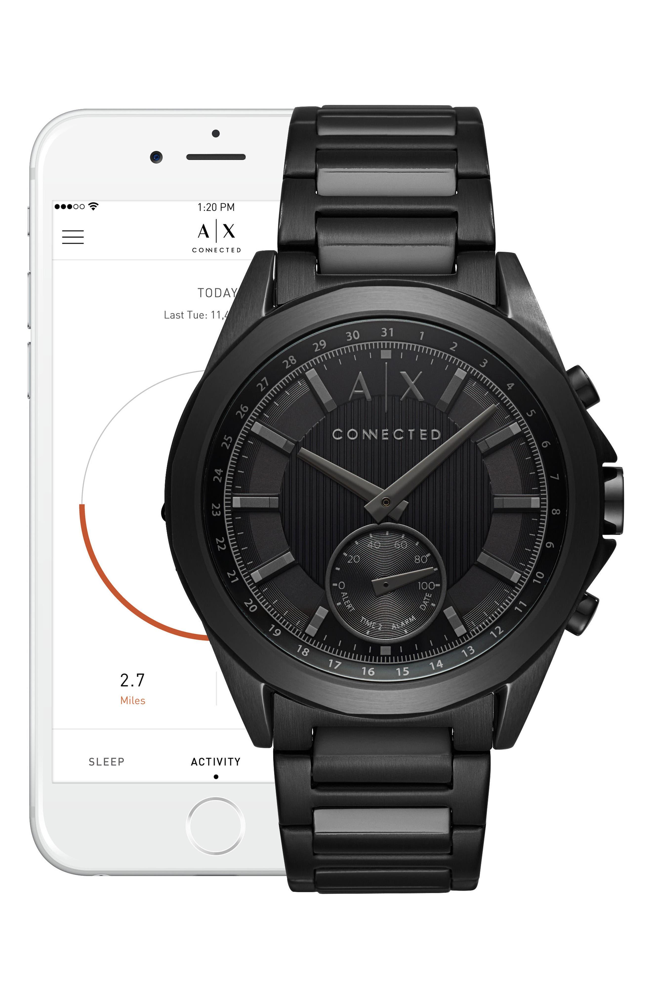 Connected Bracelet Hybrid Smartwatch, 44mm,                             Alternate thumbnail 4, color,                             BLACK/ BLACK