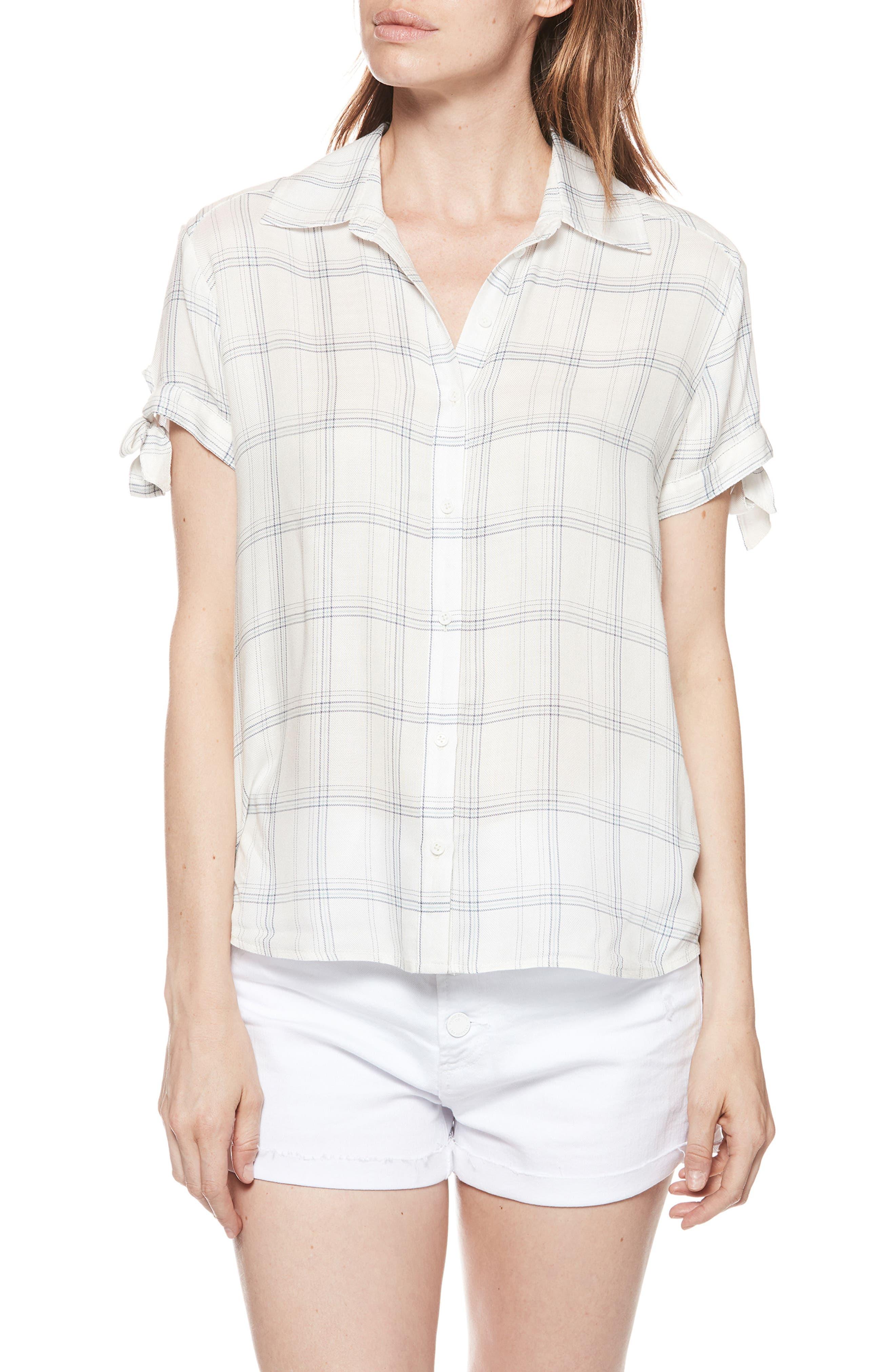 Avery Plaid Shirt,                         Main,                         color, WHITE / BIJOU BLUE