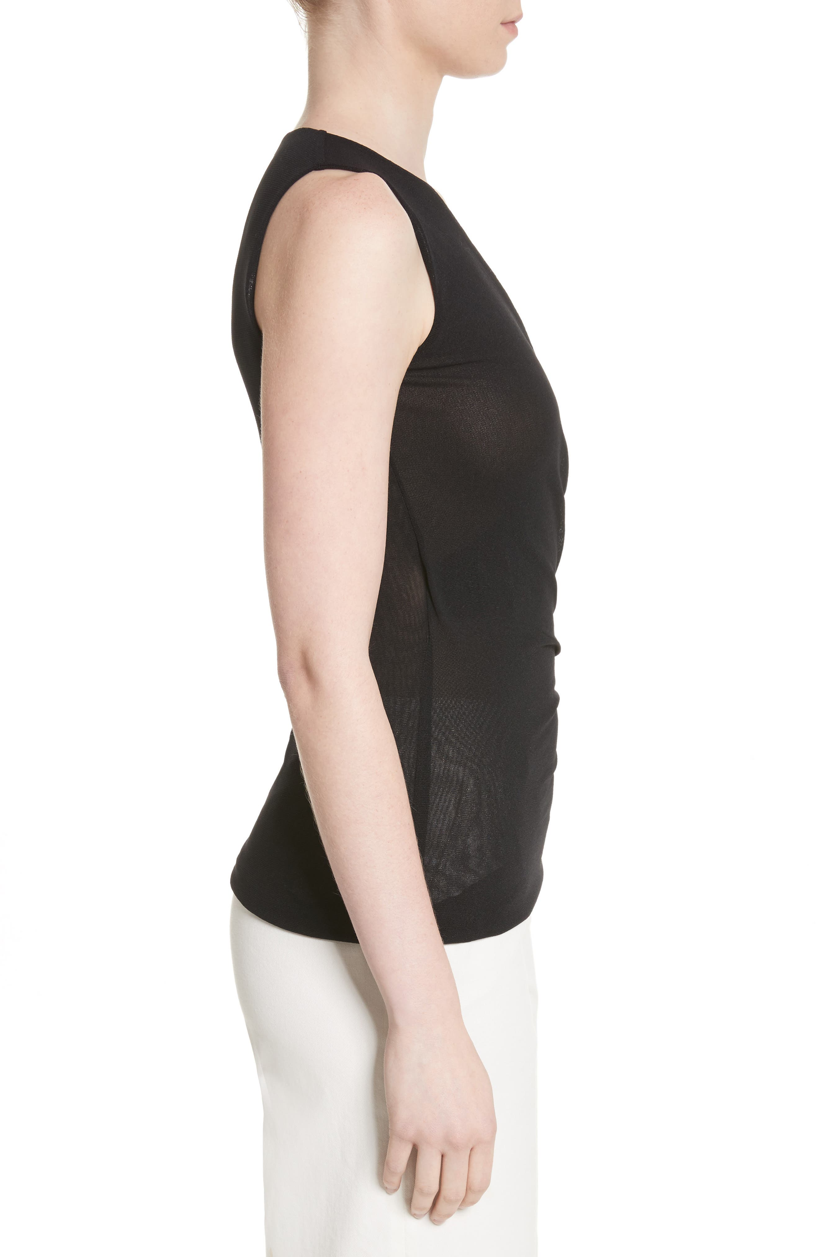 Ruched Tulle Tank,                             Alternate thumbnail 3, color,                             001