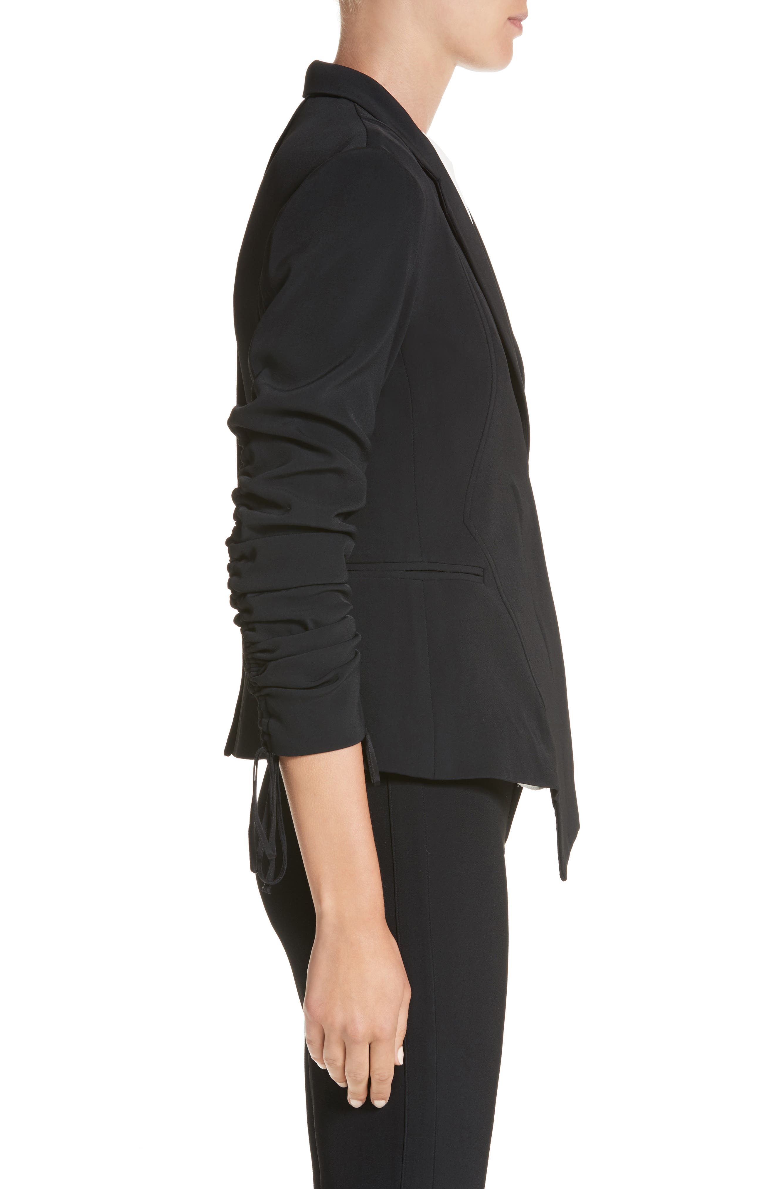 Twill Ruched Sleeve Blazer,                             Alternate thumbnail 3, color,                             001