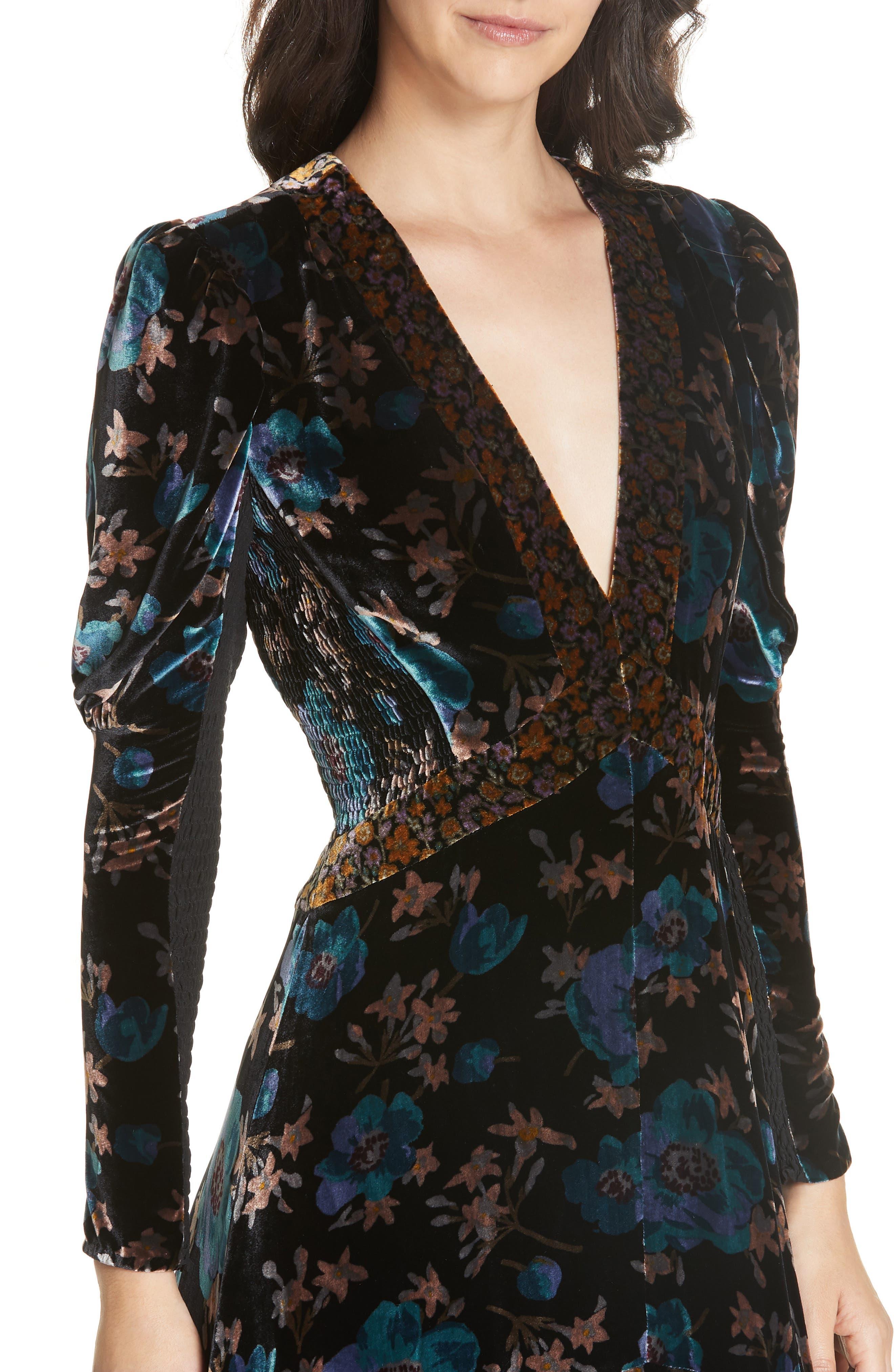 Solstice Velvet Maxi Dress,                             Alternate thumbnail 4, color,                             BLACK COMBO