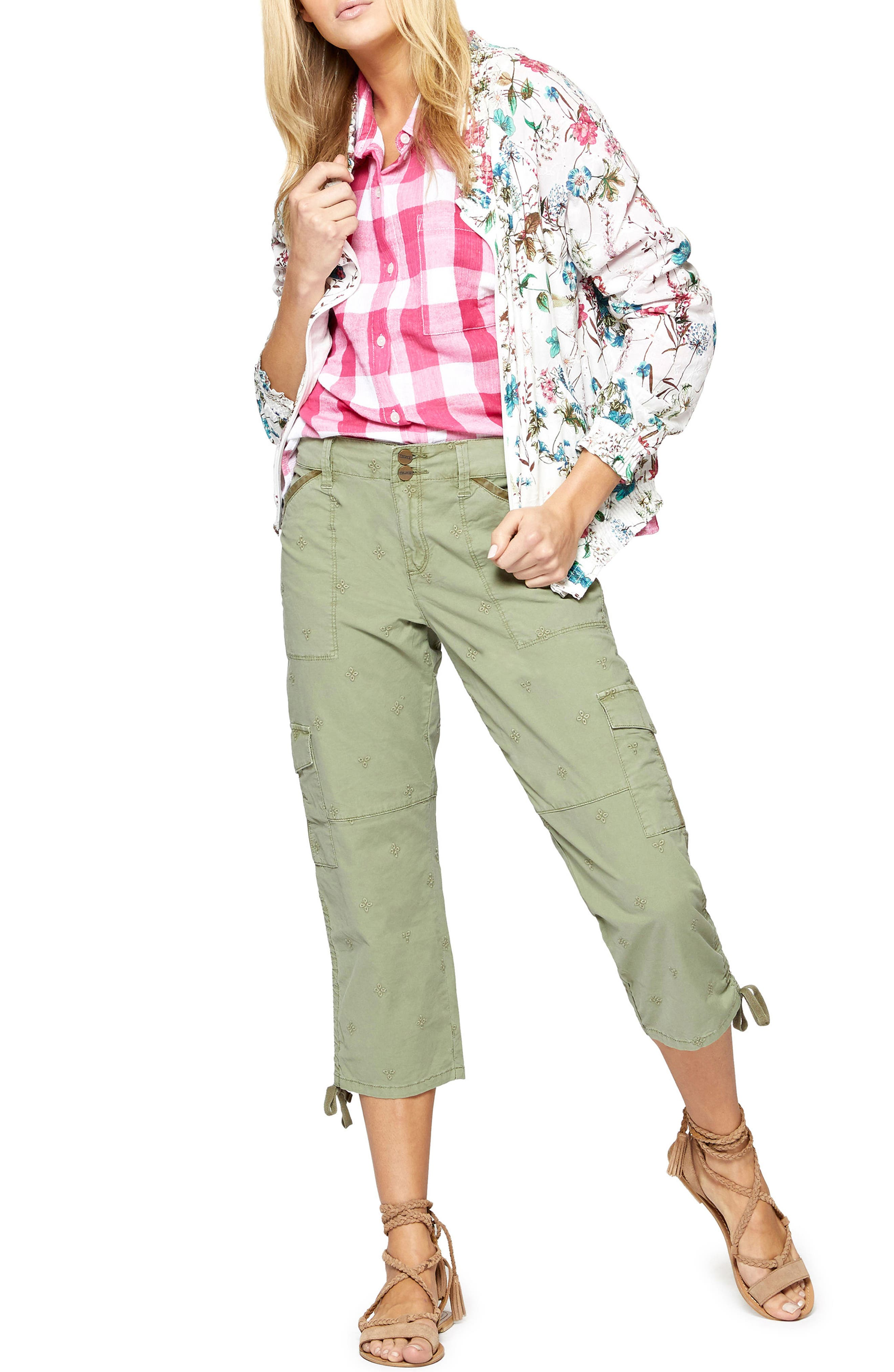 In Bloom Eyelet Bomber Jacket,                             Alternate thumbnail 4, color,                             CHEERFUL NATURE