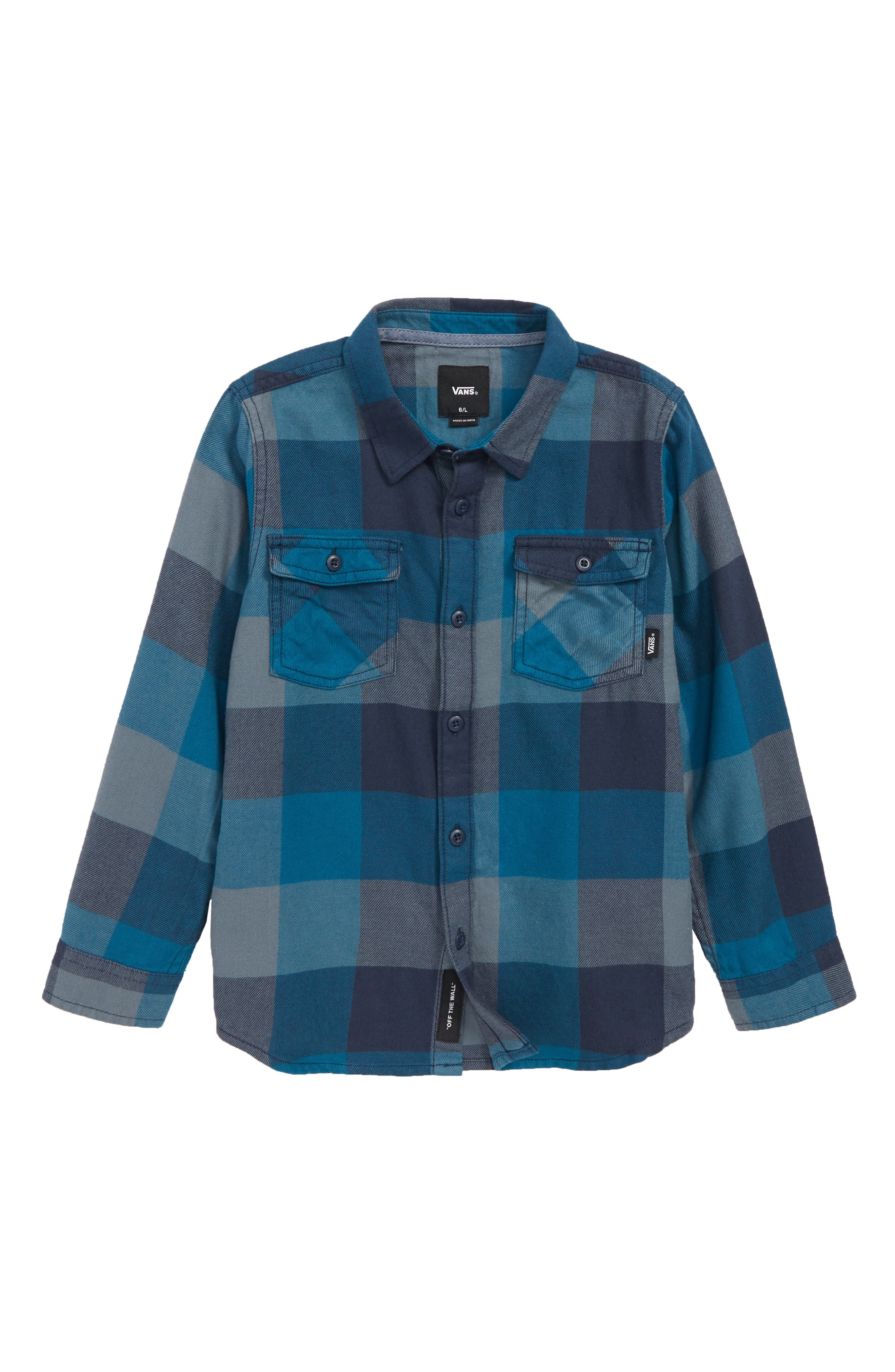 Check Flannel Shirt,                         Main,                         color, CORSAIR/ STORMY WEATHER