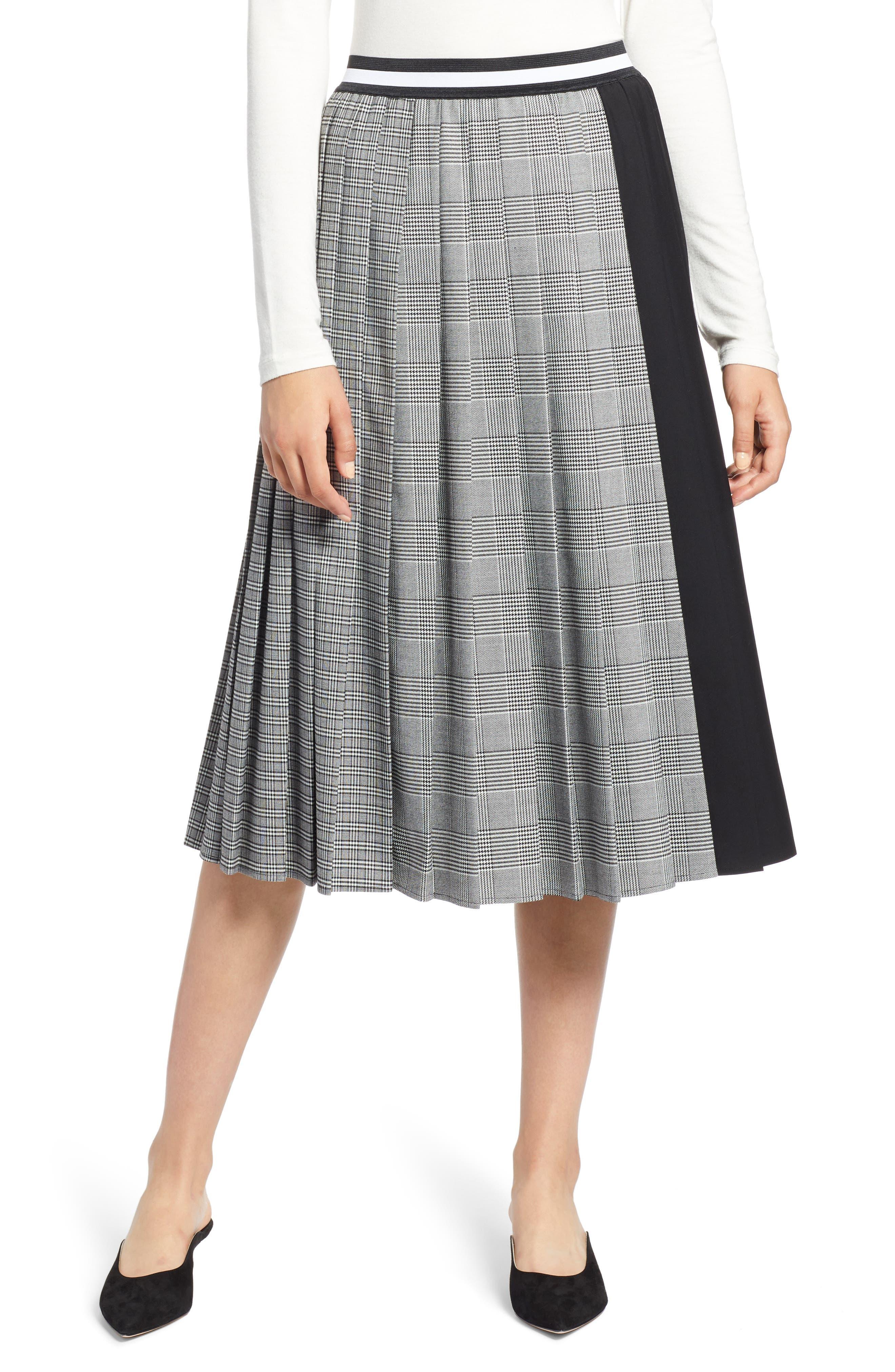 Plaid A-Line Skirt,                             Main thumbnail 1, color,                             001