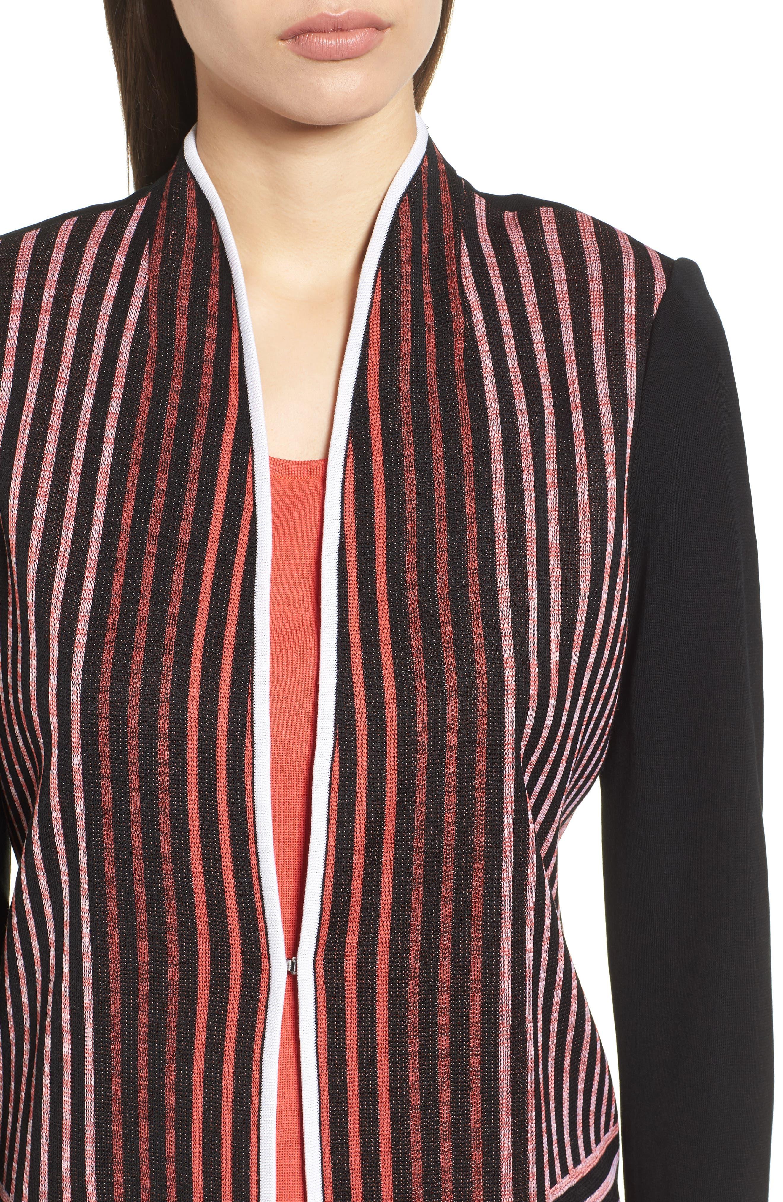 MING WANG,                             Stripe Knit Jacket,                             Alternate thumbnail 4, color,                             019
