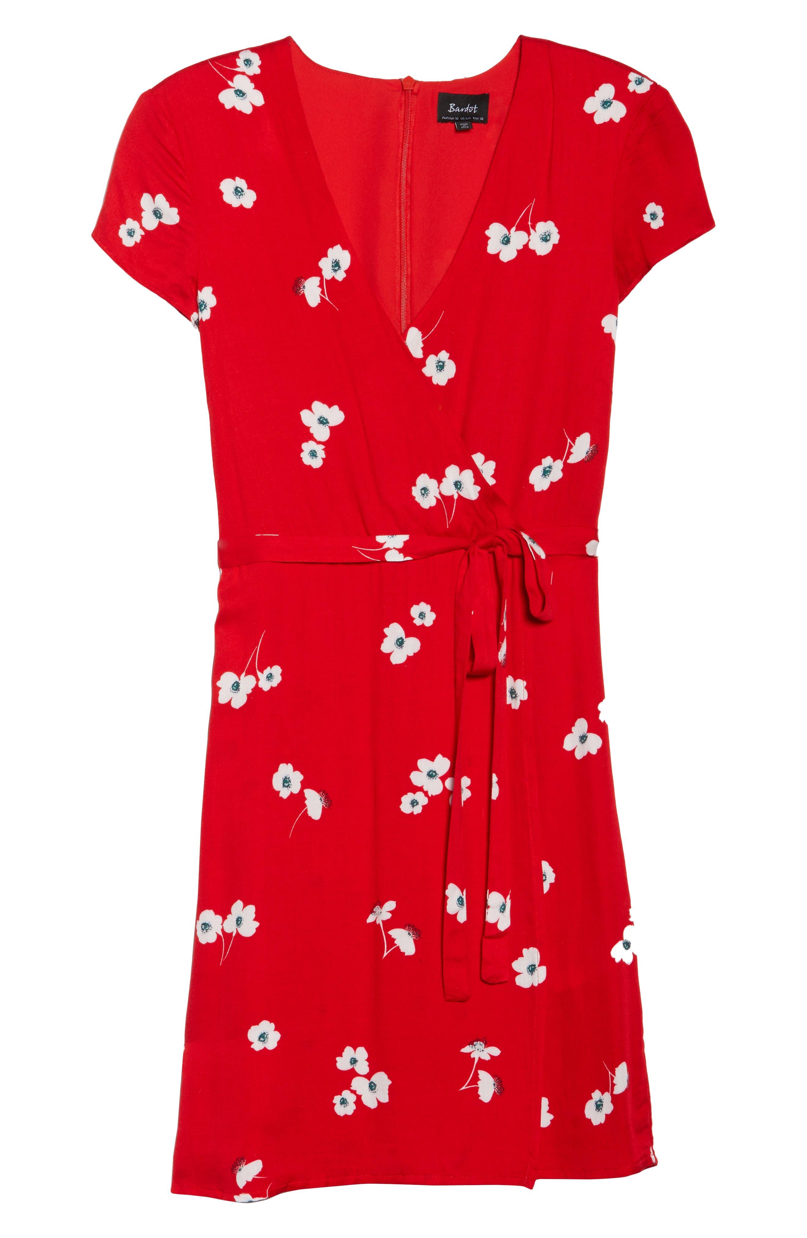 Edie Floral Faux Wrap Dress,                             Alternate thumbnail 7, color,                             645