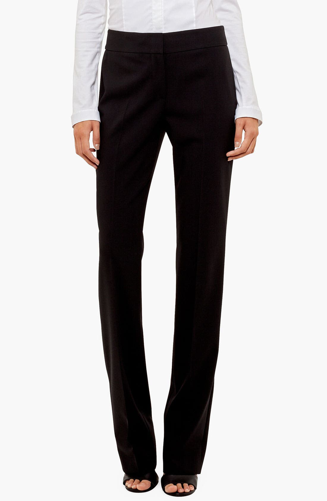 'Madison' Straight Leg Wool Trousers,                         Main,                         color, 001