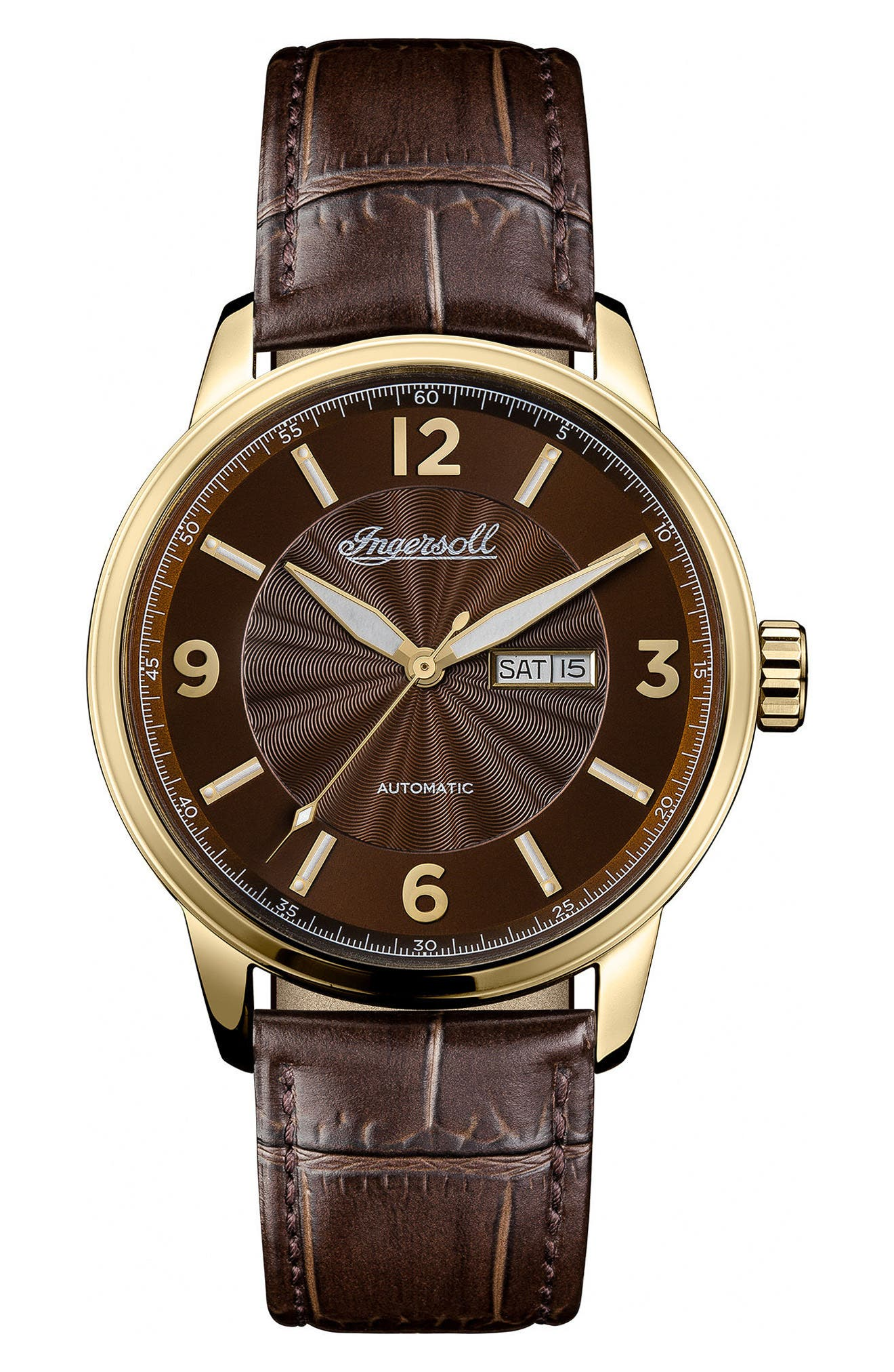 Ingersoll Regent Automatic Leather Strap Watch,                             Main thumbnail 1, color,                             BROWN/ GOLD