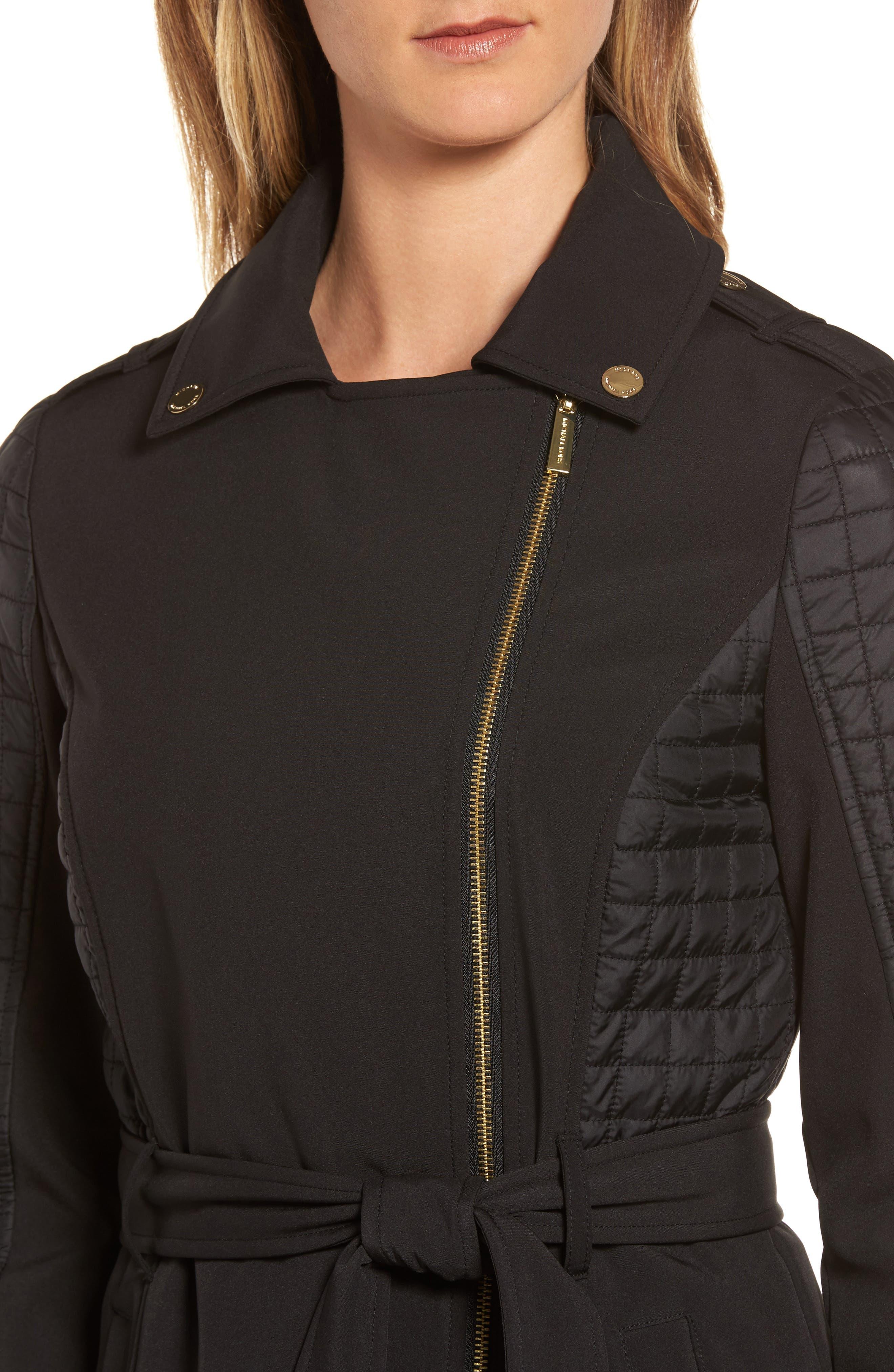 Asymmetrical Zip Coat,                             Alternate thumbnail 4, color,                             001