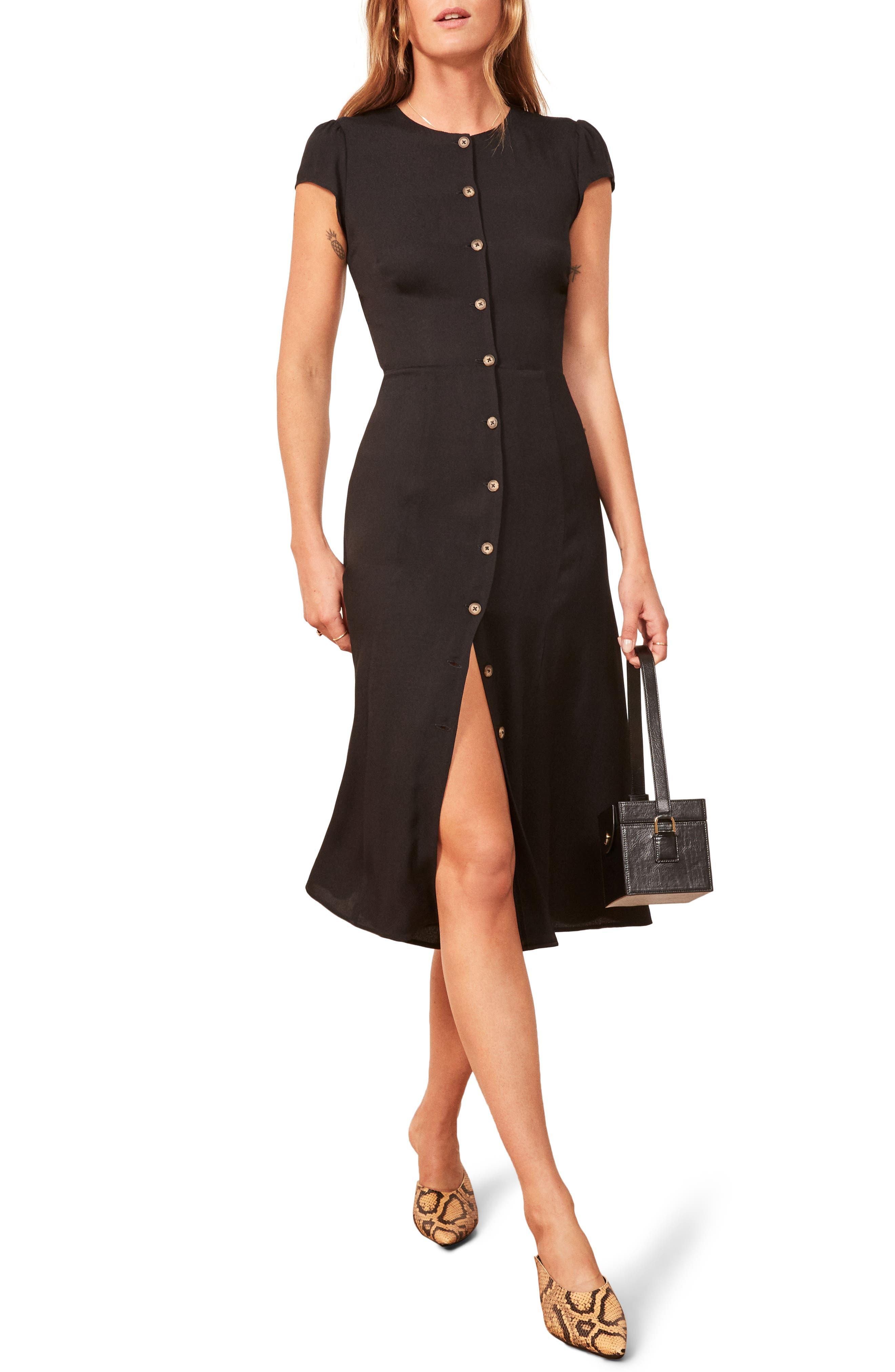 Fauna Front Button Midi Dress,                             Main thumbnail 1, color,                             BLACK