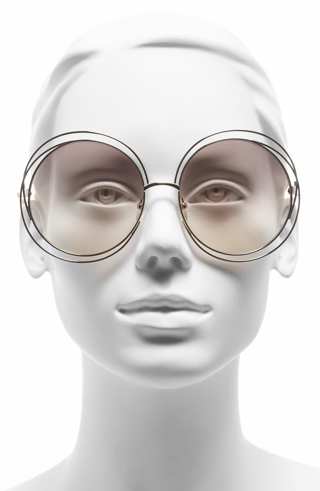 CHLOÉ,                             62mm Oversize Sunglasses,                             Alternate thumbnail 2, color,                             GOLD/ TRANSPARENT PEACH