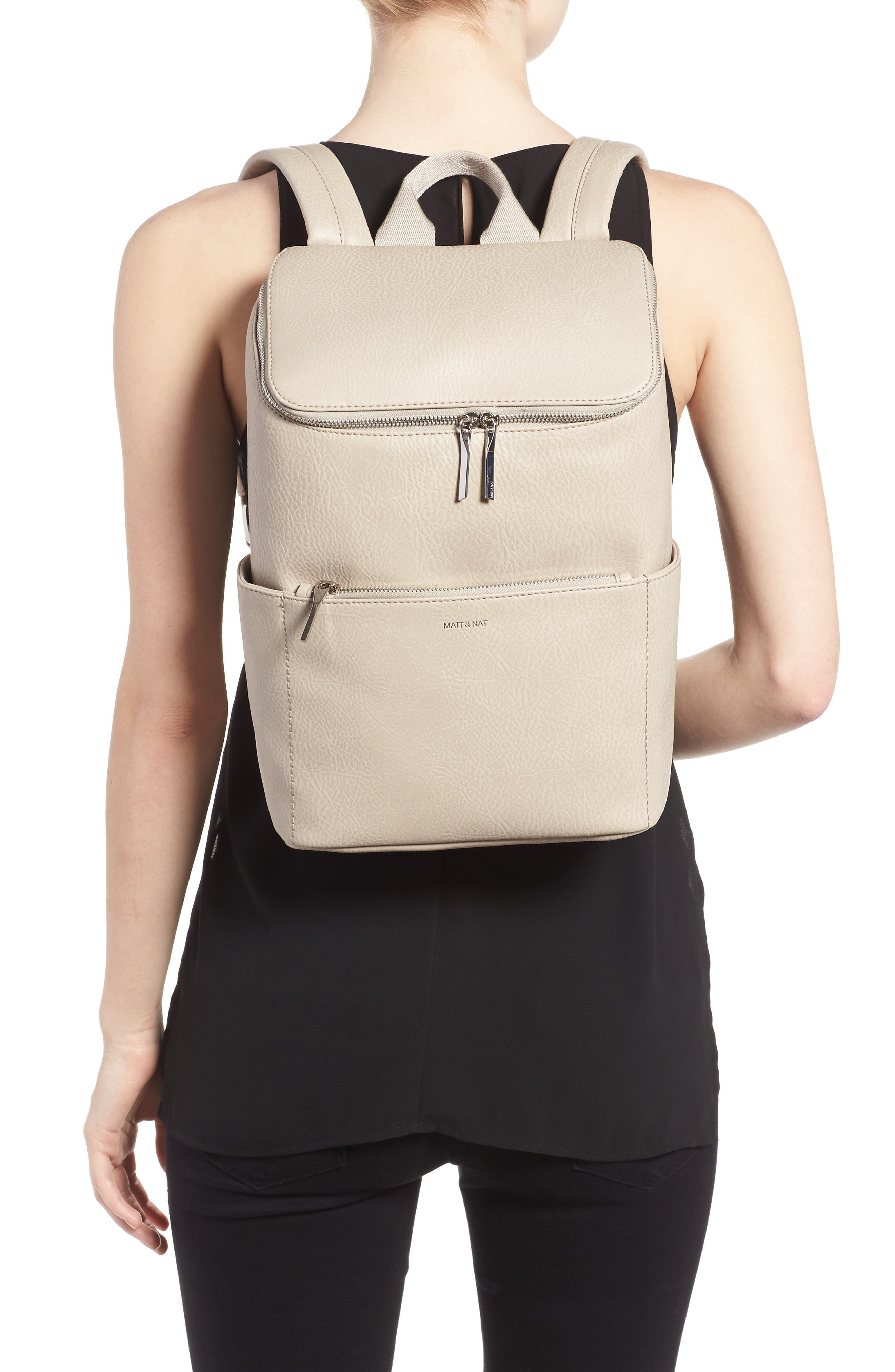 'Brave' Faux Leather Backpack,                             Alternate thumbnail 30, color,