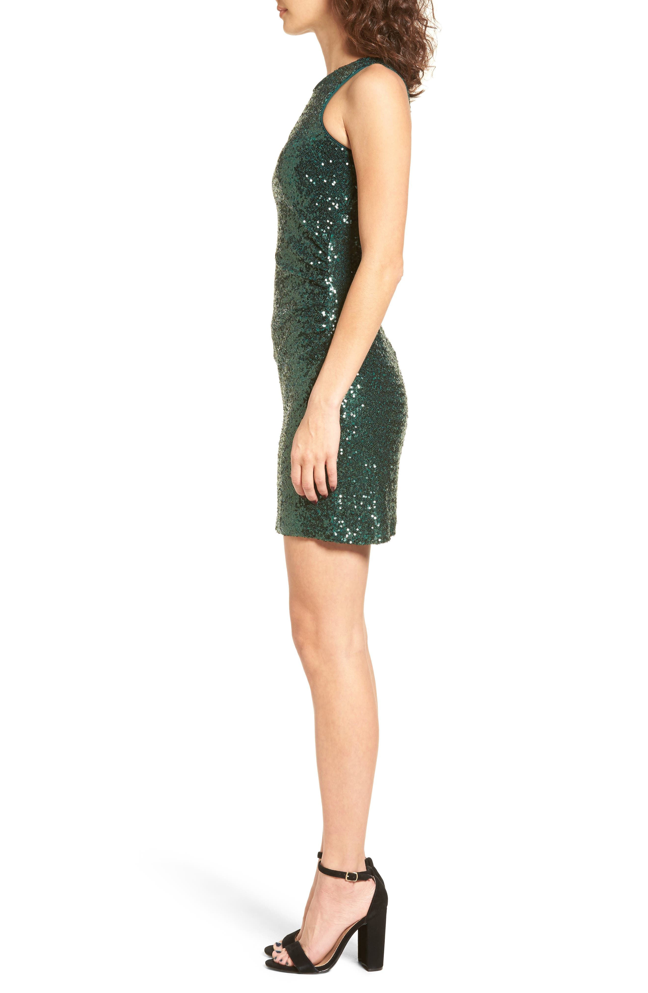 Sequin Cutout Dress,                             Alternate thumbnail 3, color,