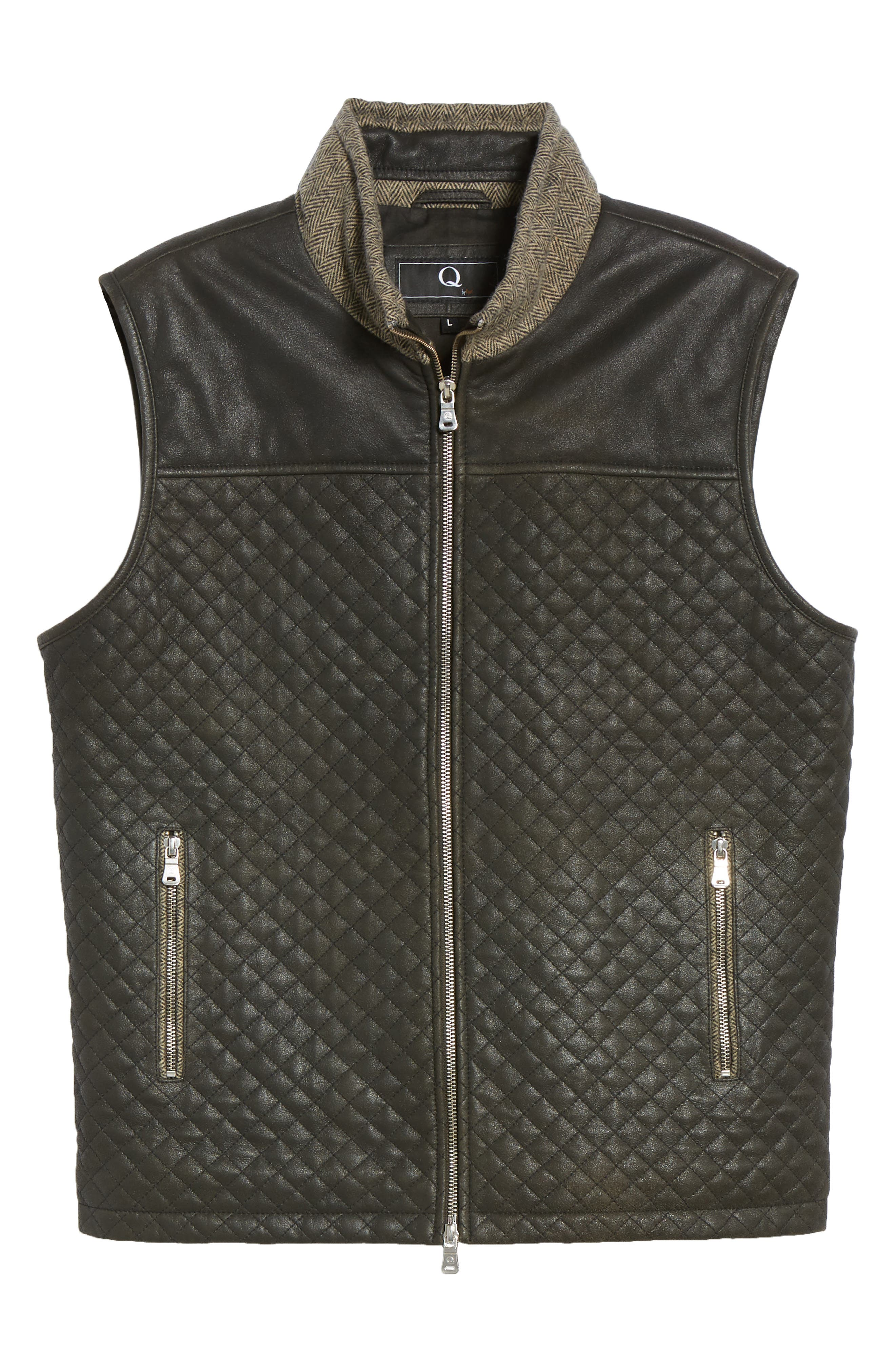 Quilted Leather & Wool Vest,                             Alternate thumbnail 6, color,                             001