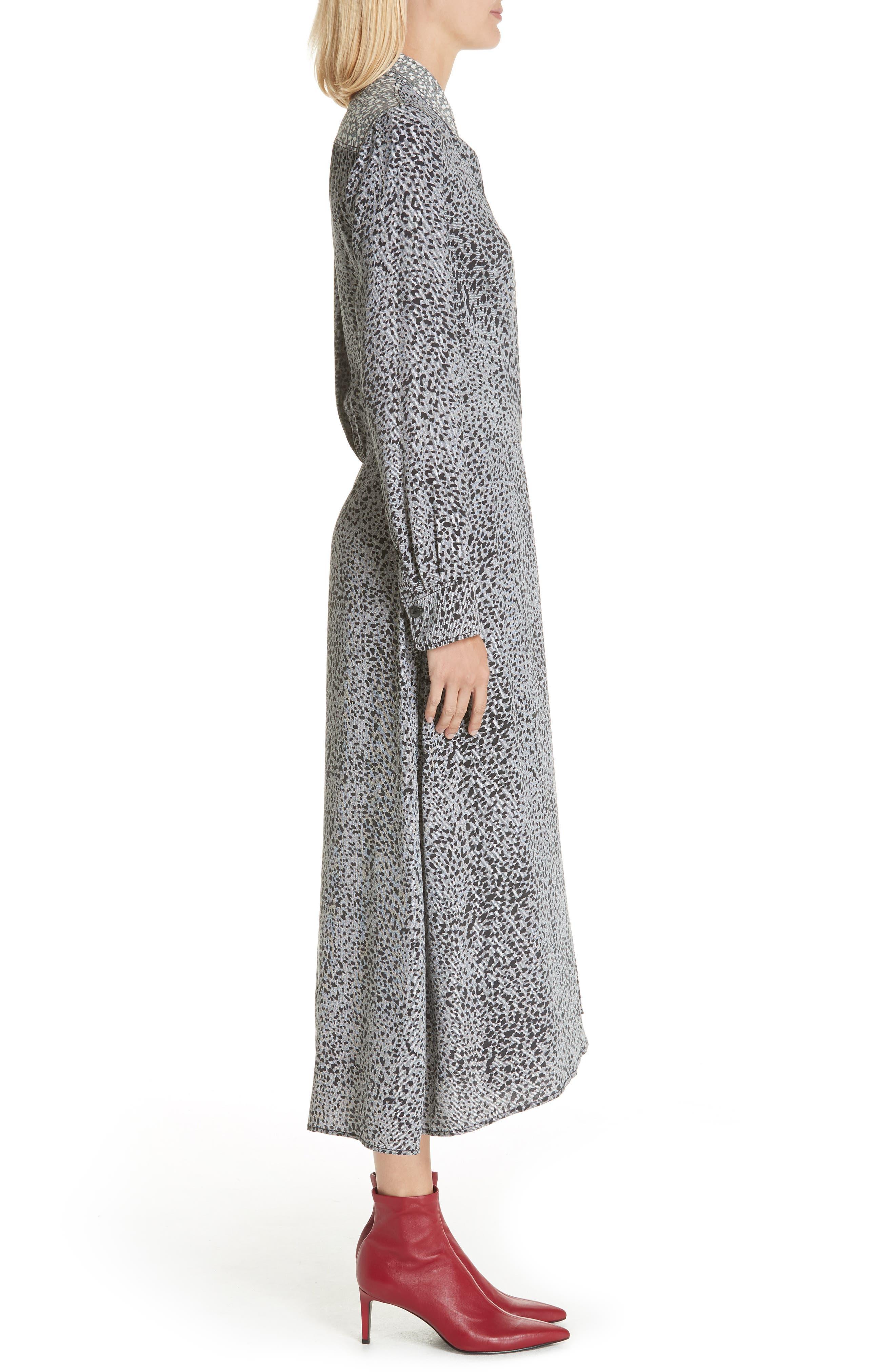 Karen Cheetah Print Silk Dress,                             Alternate thumbnail 3, color,                             BLACK MULTI