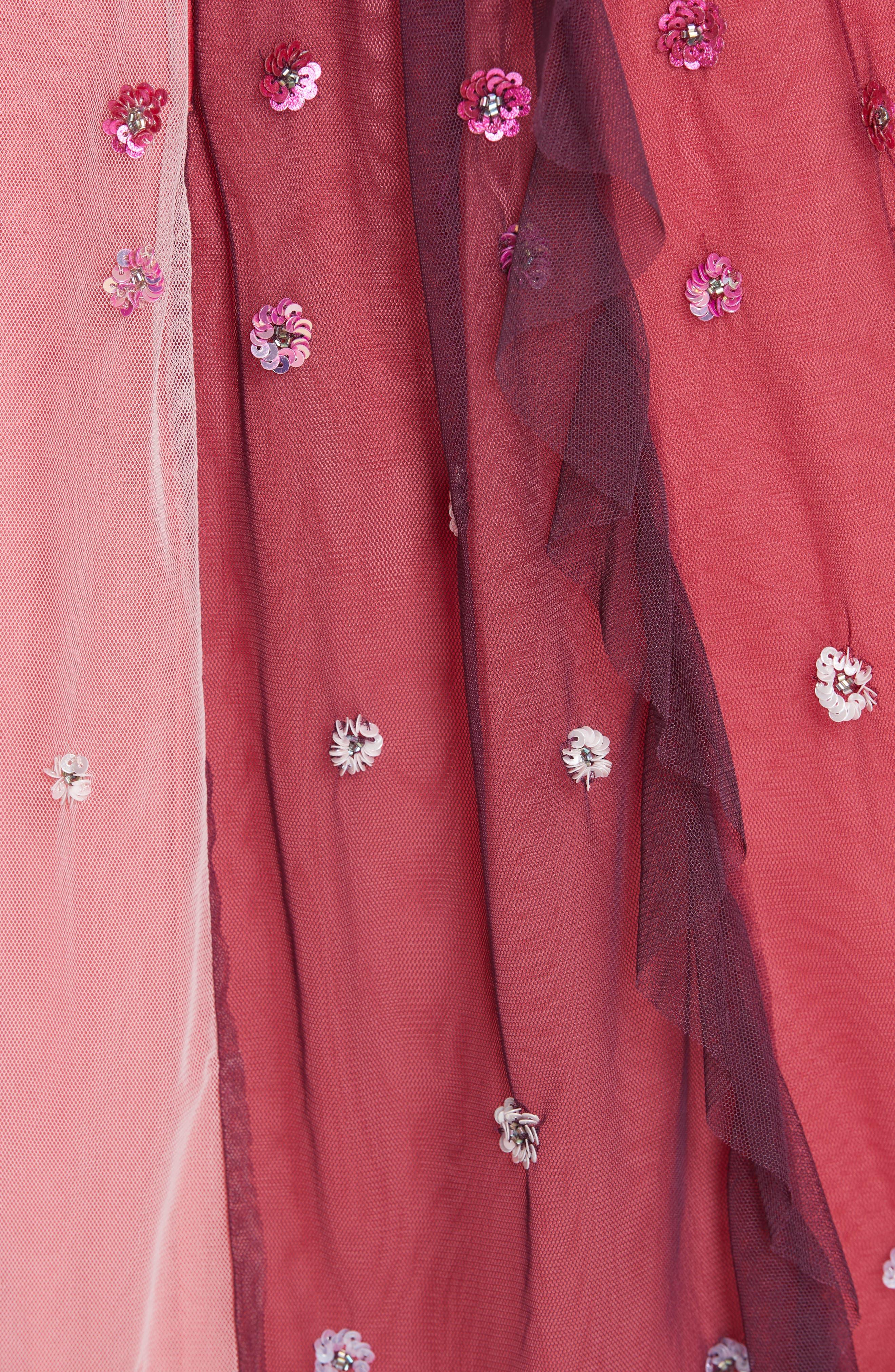 Rainbow Midi Skirt,                             Alternate thumbnail 5, color,                             CHERRY