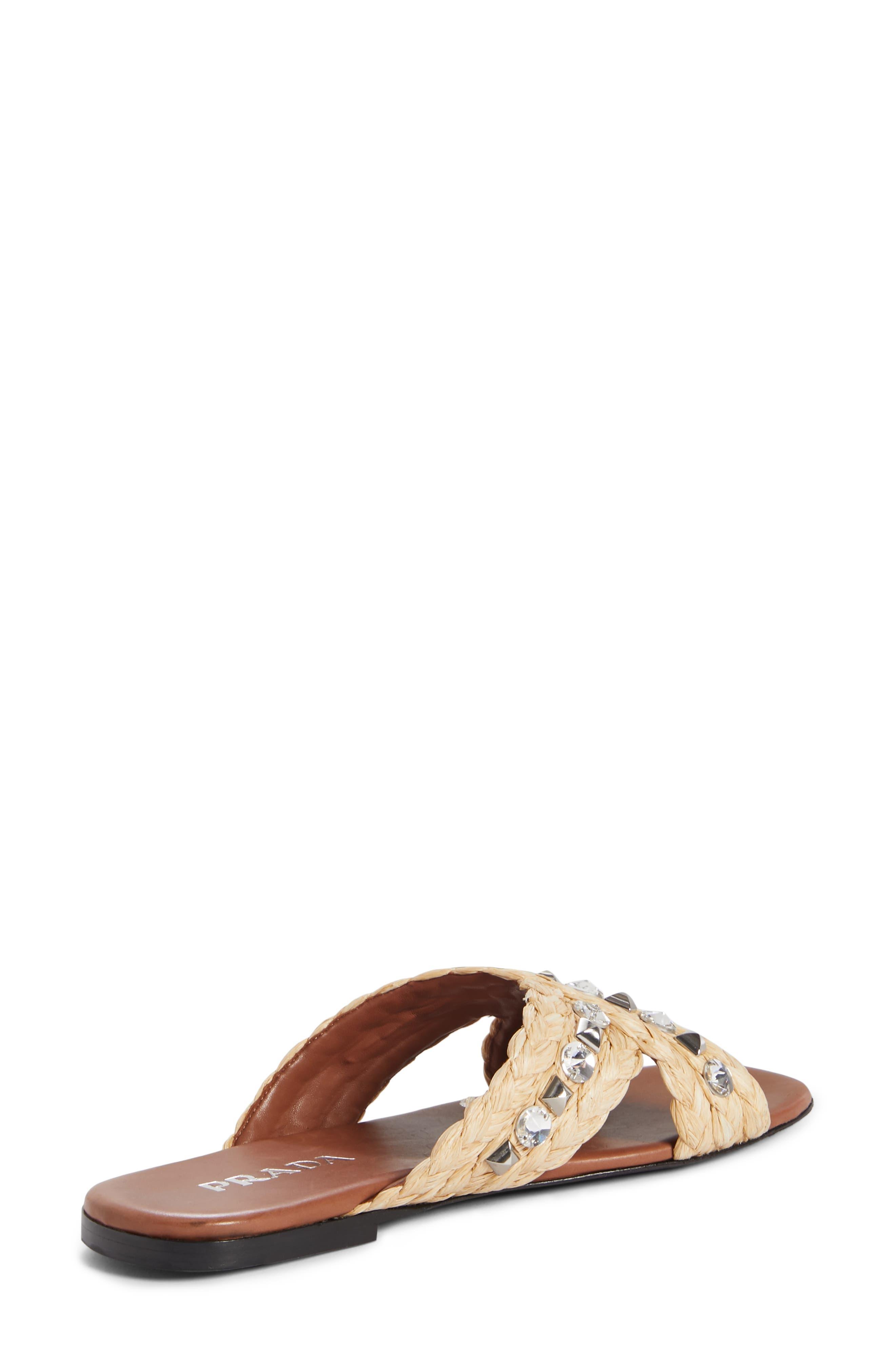 PRADA,                             Embellished Slide Sandal,                             Alternate thumbnail 2, color,                             NATURAL RAFFIA