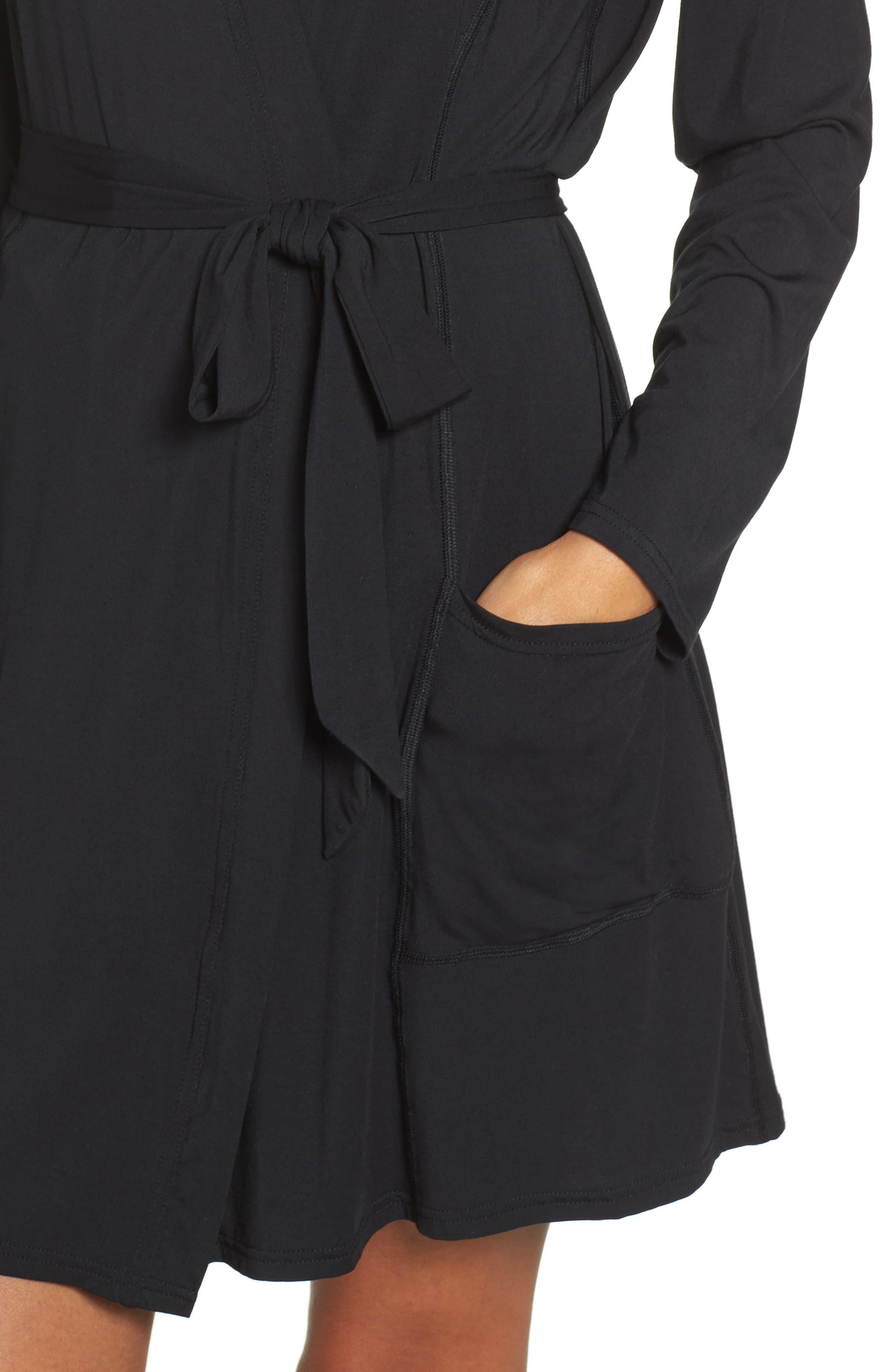 Short Robe,                             Alternate thumbnail 4, color,                             BLACK