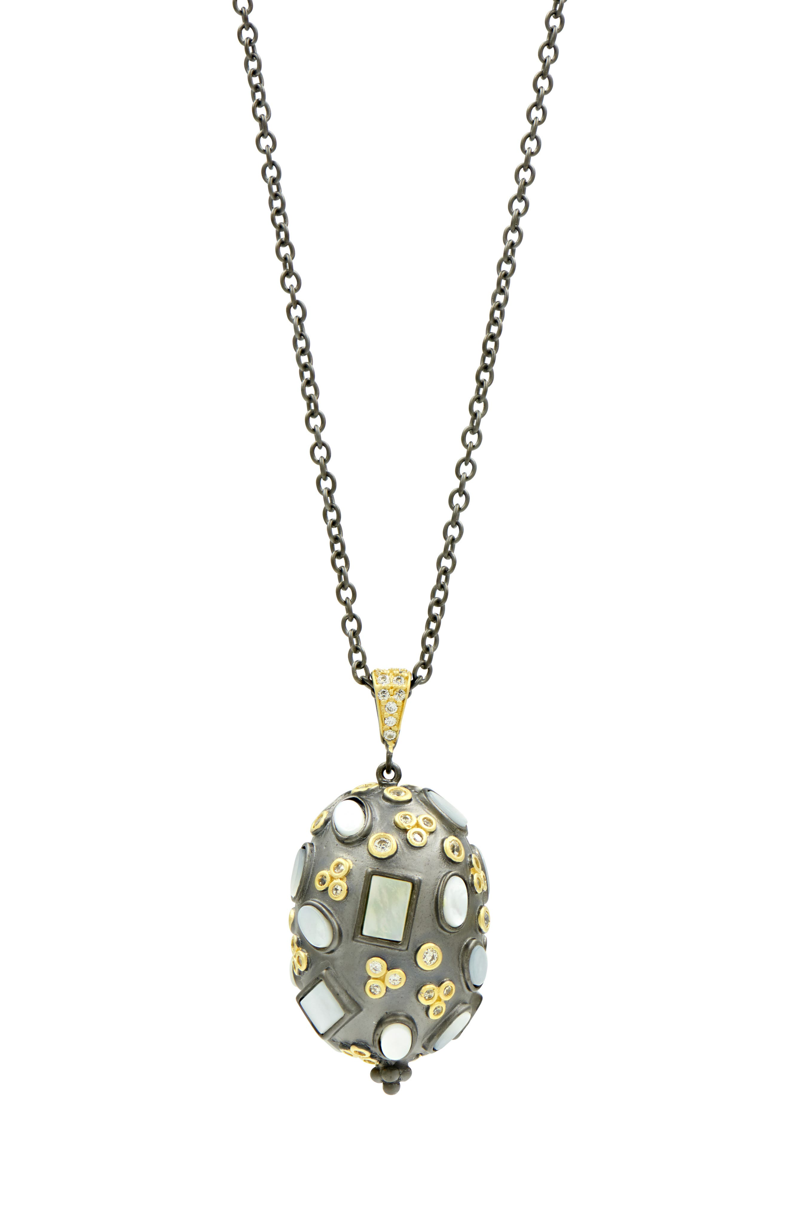 Imperial Multi Stone Pendant Necklace, Main, color, GOLD/ BLACK