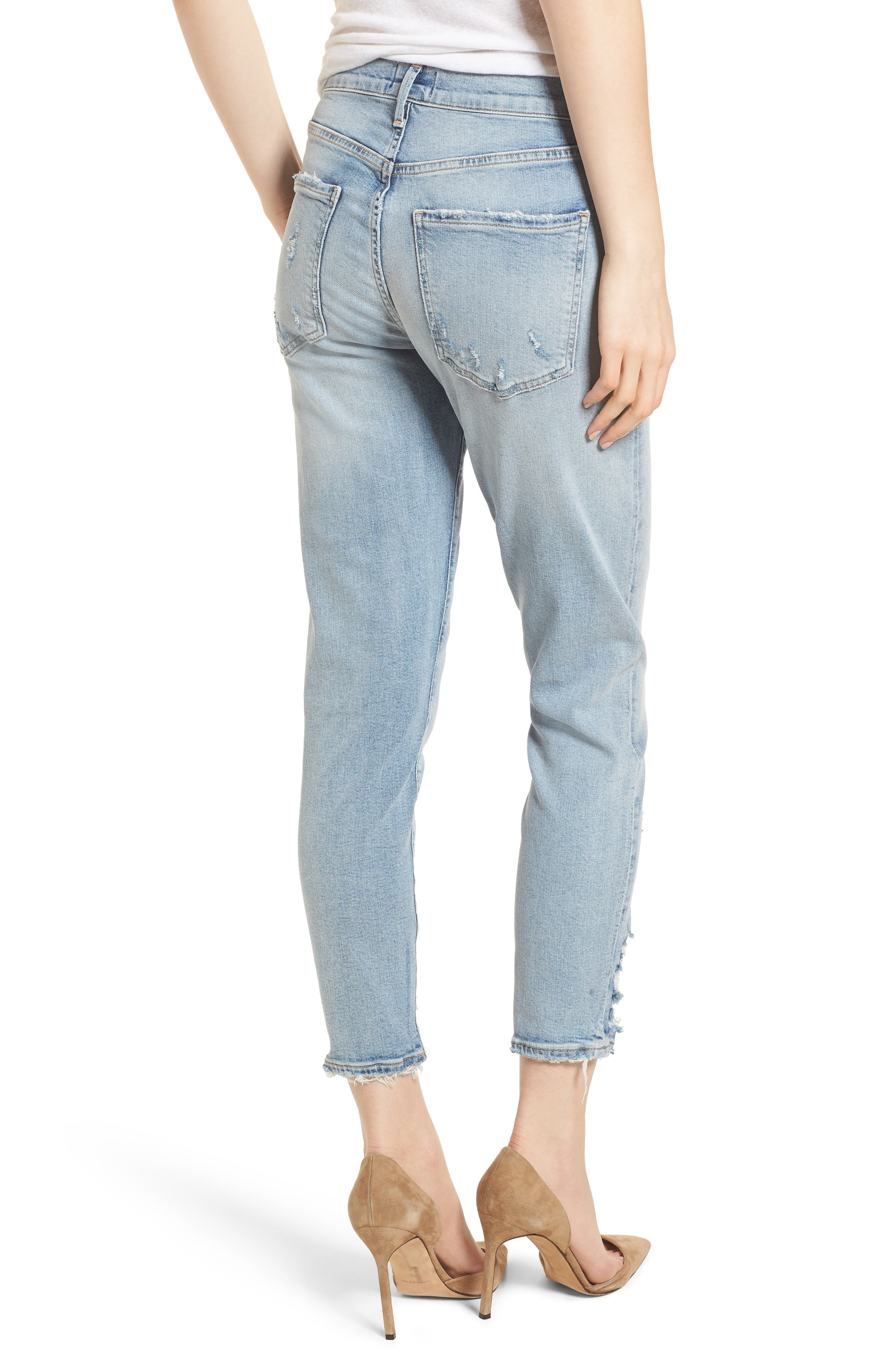 Sophie Distressed High Waist Crop Skinny Jeans,                             Alternate thumbnail 2, color,