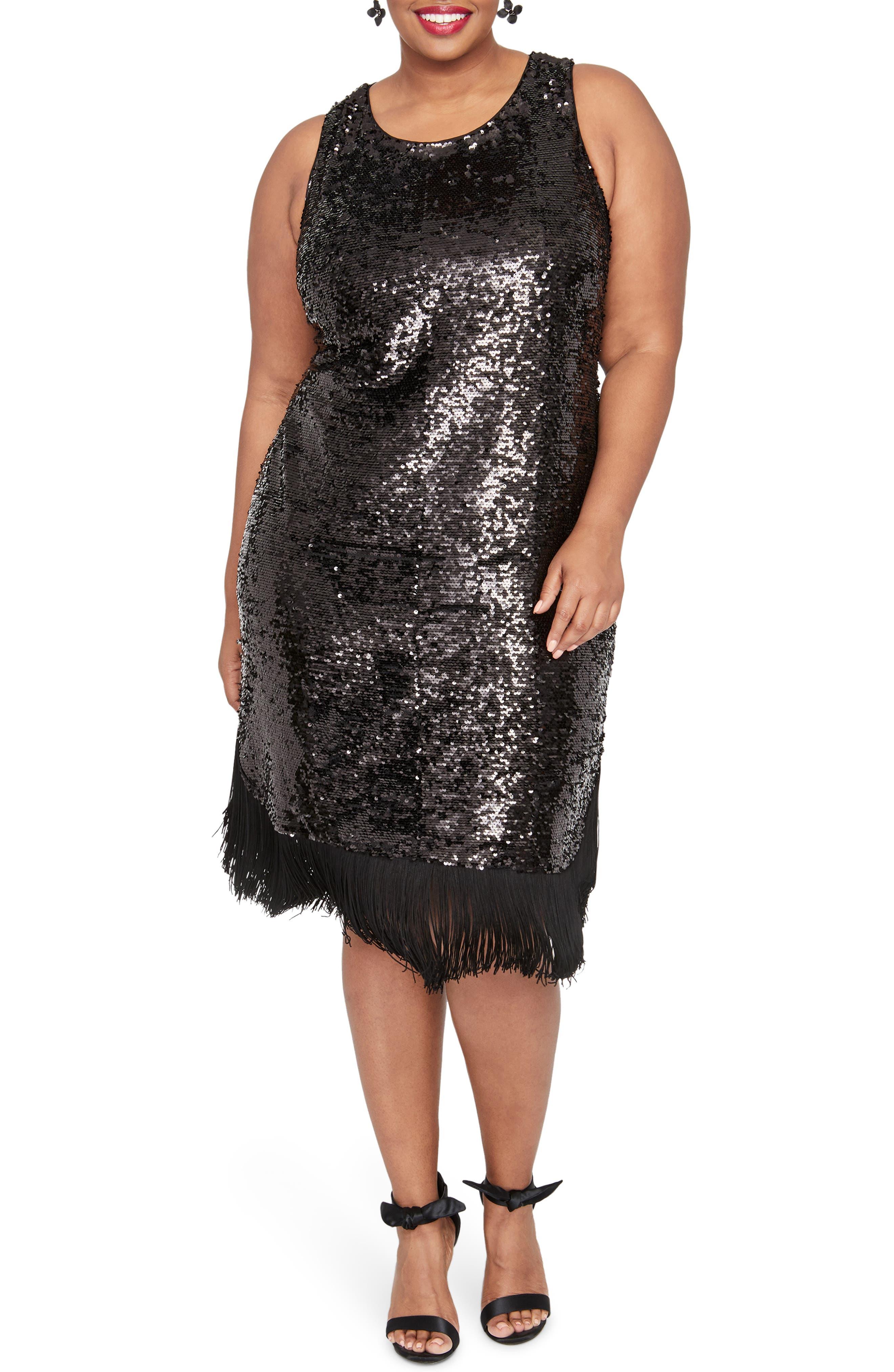 Lea Sequin Fringe Detail Dress,                             Main thumbnail 1, color,                             BLACK