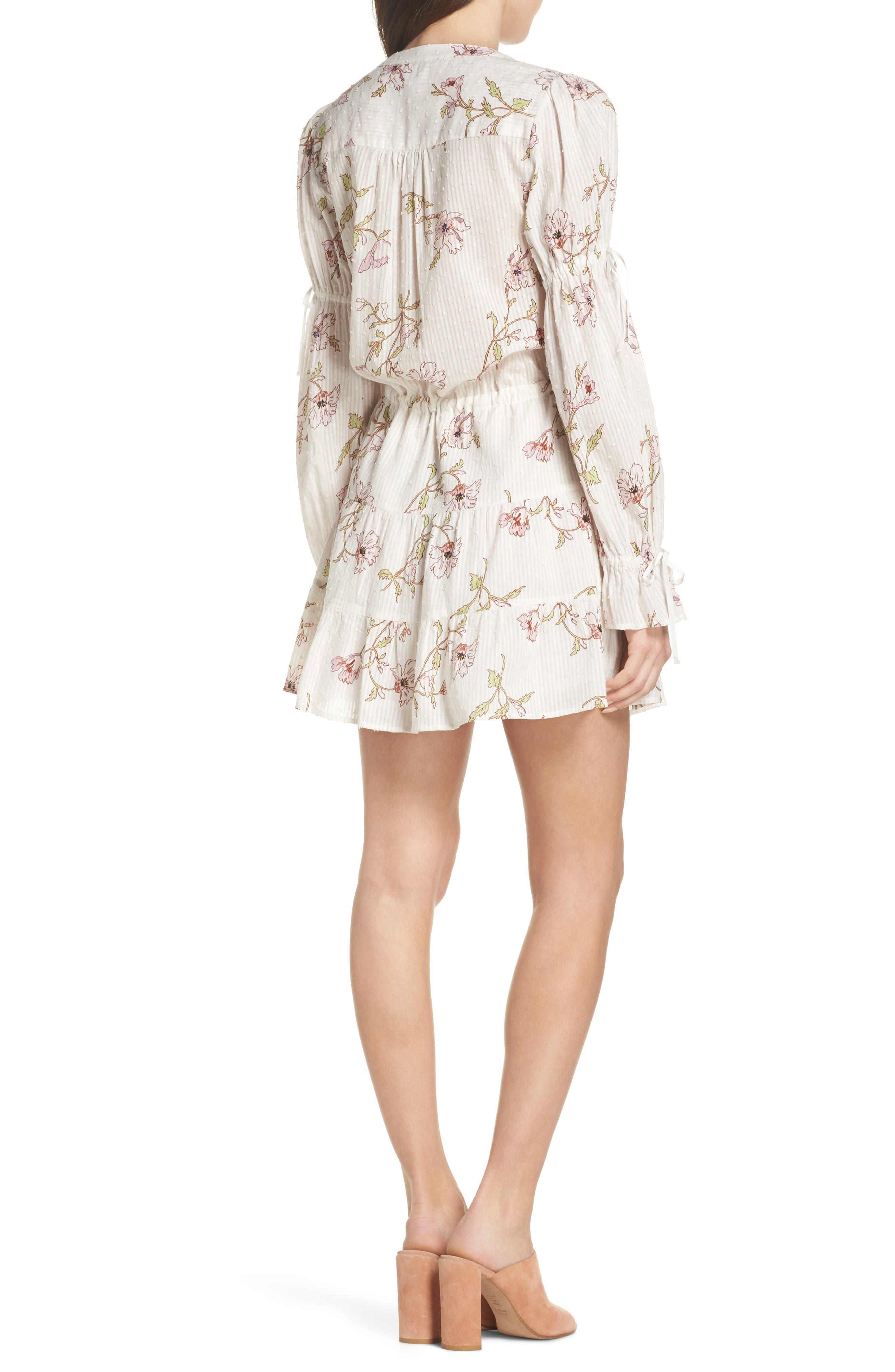 Yardley Floral Minidress,                             Alternate thumbnail 2, color,                             WHITE / MAUVE SHADOWS