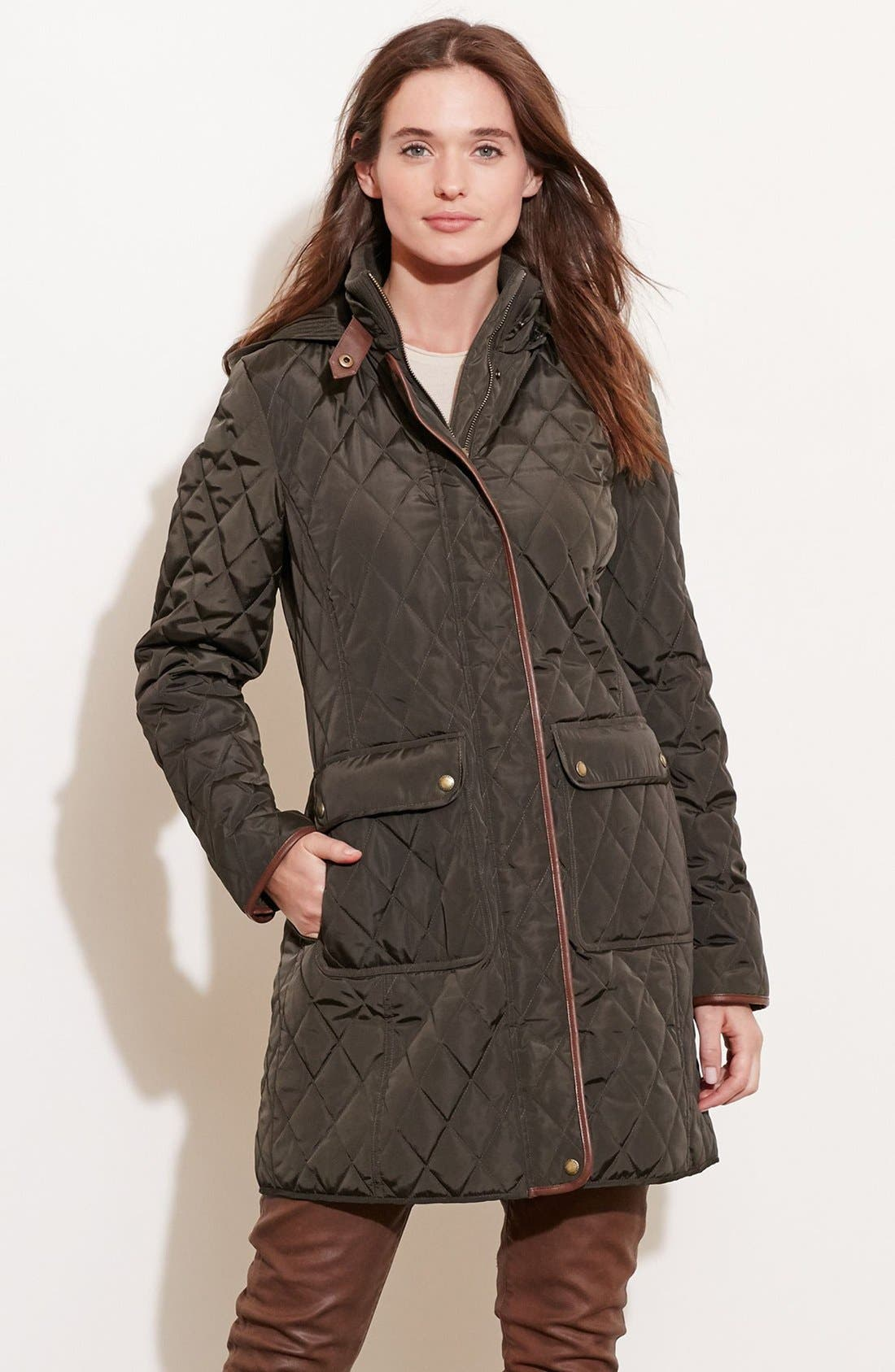 Diamond Quilted Coat with Faux Leather Trim,                             Alternate thumbnail 17, color,