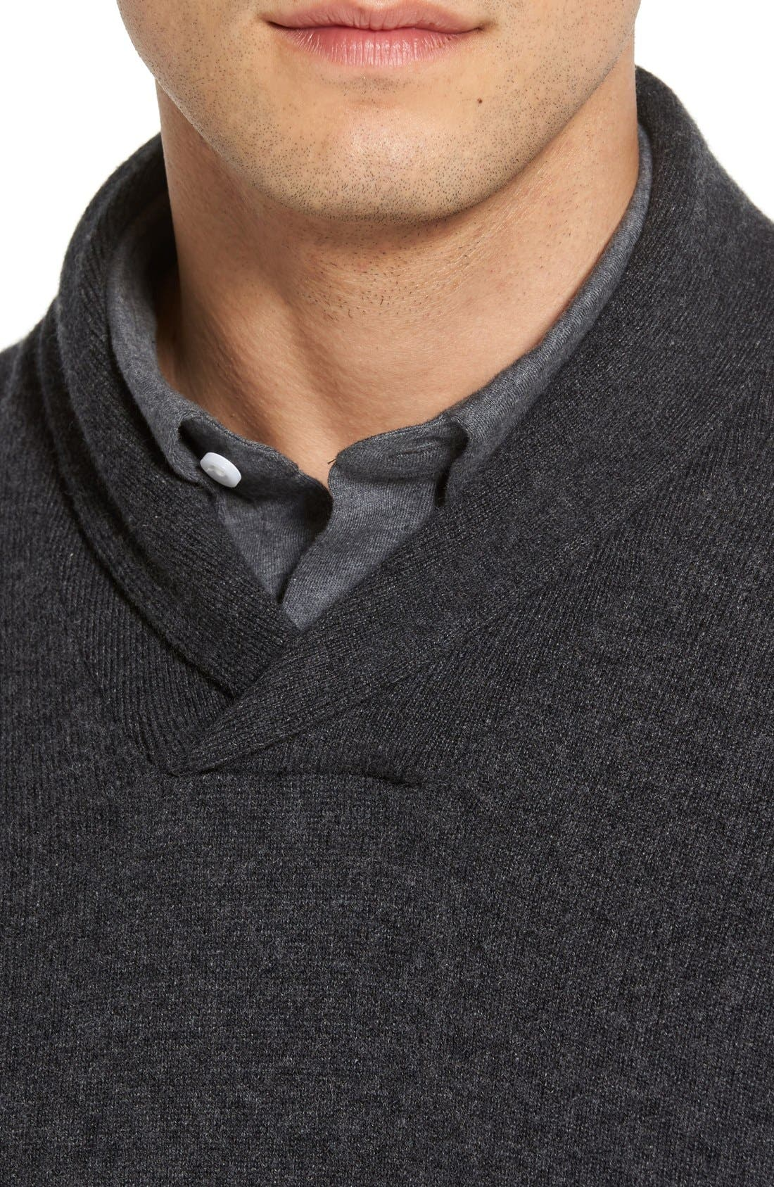 Shawl Collar Cashmere Pullover,                             Alternate thumbnail 3, color,                             GREY DARK CHARCOAL HEATHER