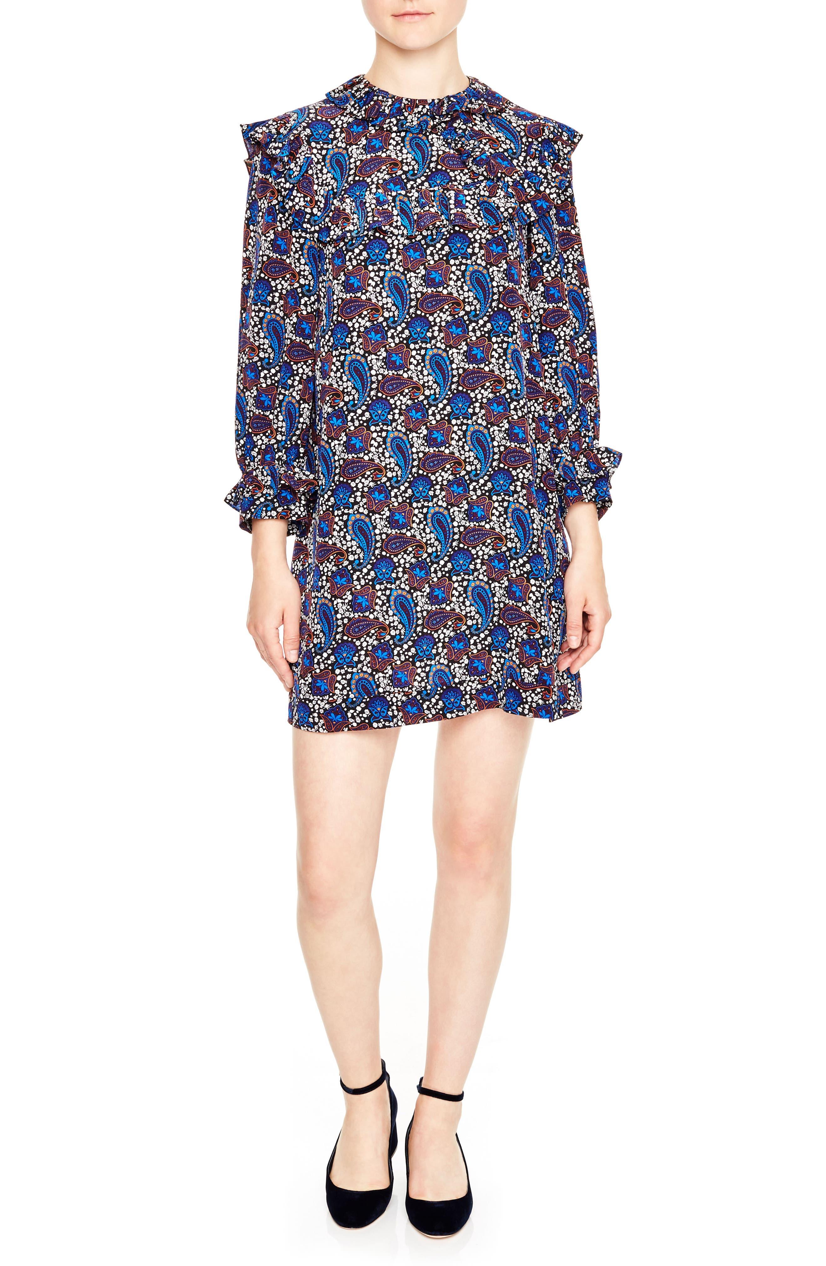 Paisley Silk Shift Dress,                             Main thumbnail 1, color,                             400