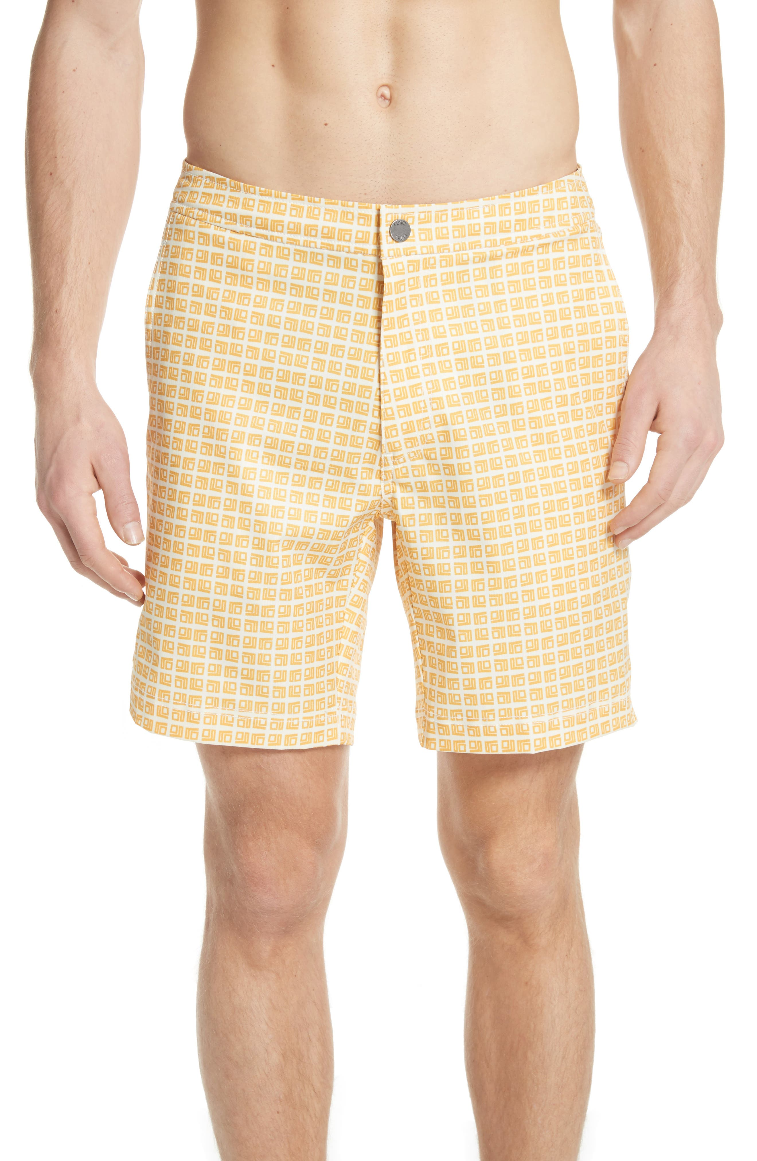 ONIA Calder Square Print Swim Trunks, Main, color, 752