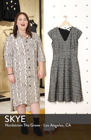 Cap Sleeve Tweed Fit & Flare Dress, sales video thumbnail