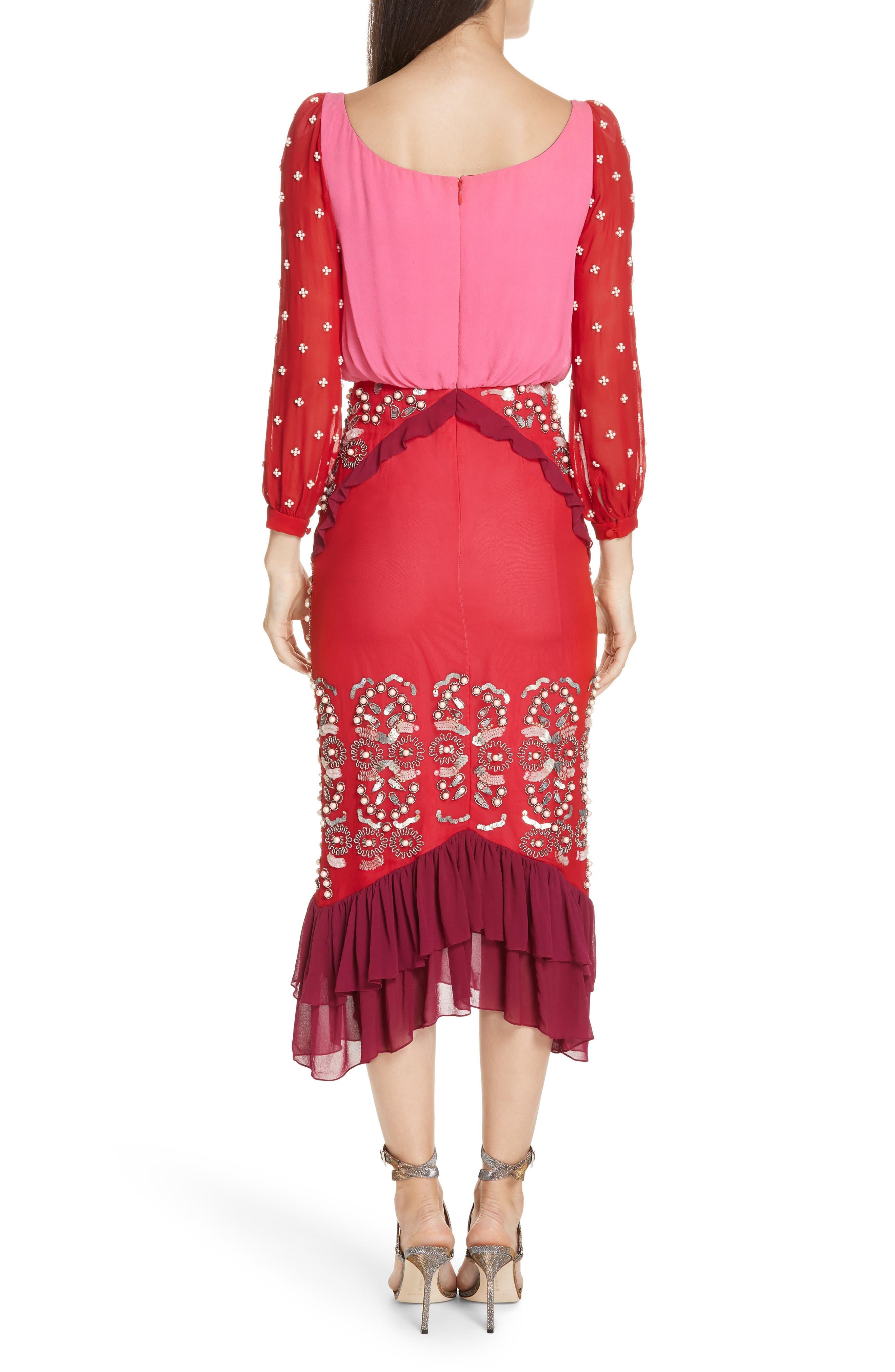 SALONI,                             Isa Beaded Colorblock Silk Midi Dress,                             Alternate thumbnail 2, color,                             PINK/ CHERRY