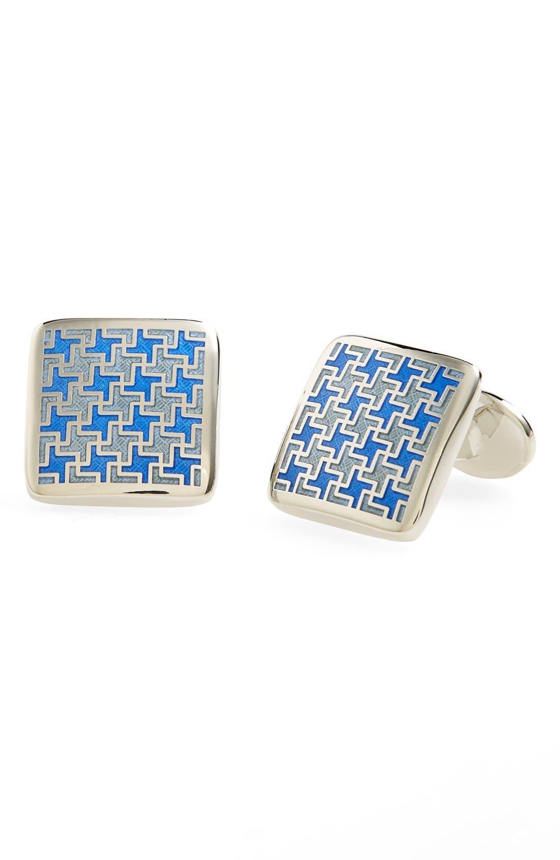 Enamel Cuff Links,                         Main,                         color, BLUE
