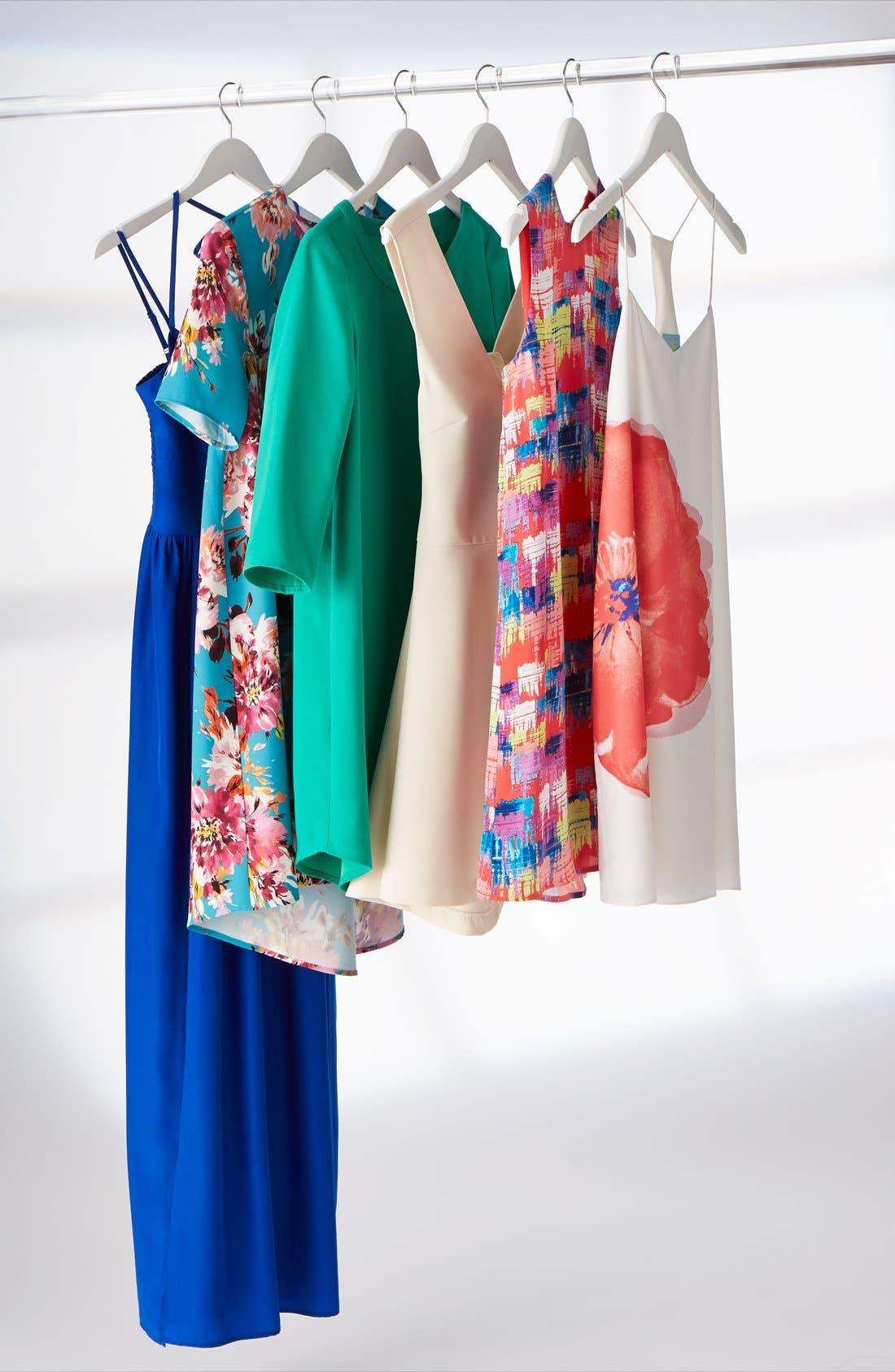 Bianca Back Cutout Fit & Flare Dress,                             Alternate thumbnail 12, color,                             001