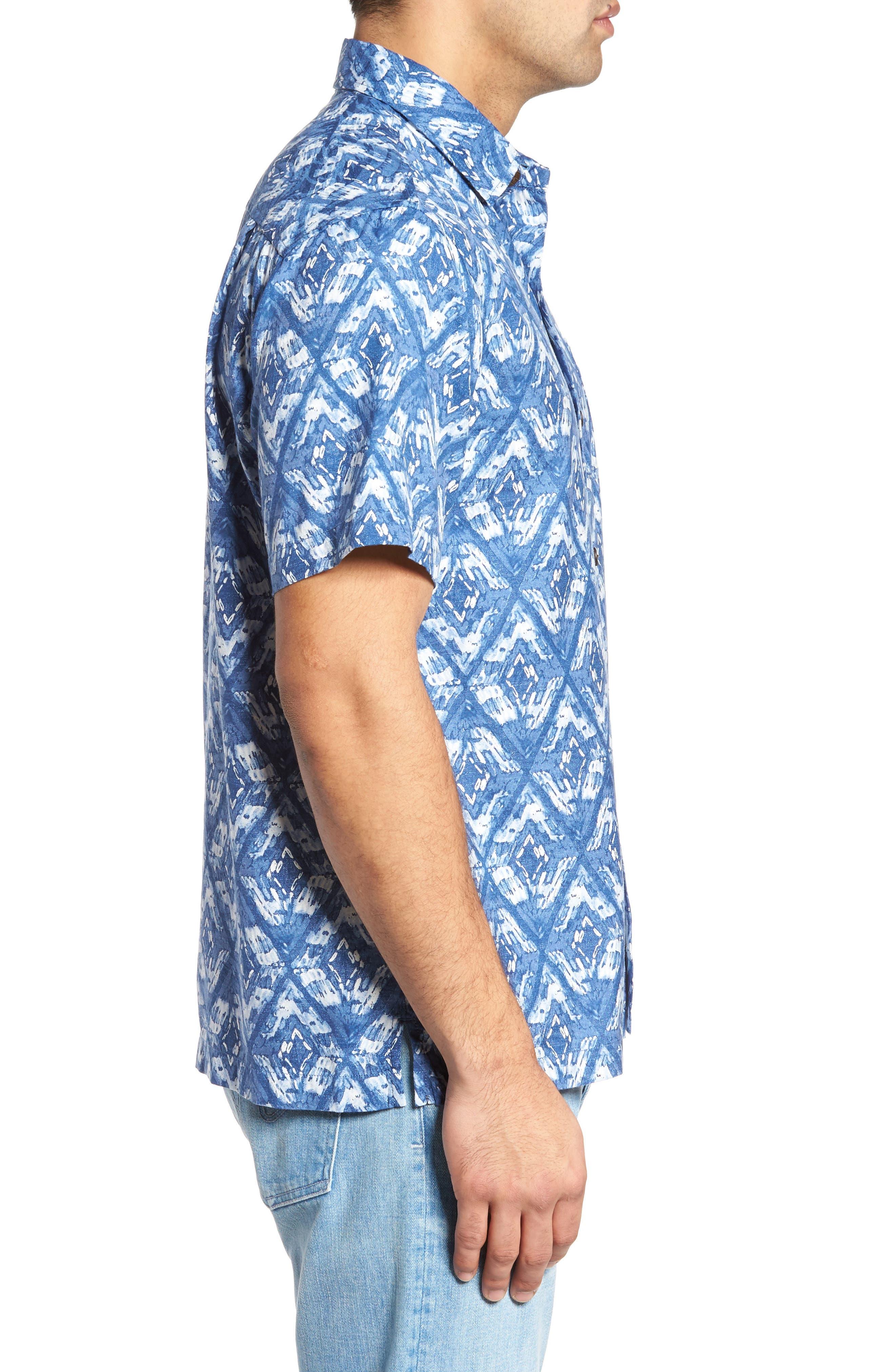 Deep Water Diamond Camp Shirt,                             Alternate thumbnail 3, color,                             400