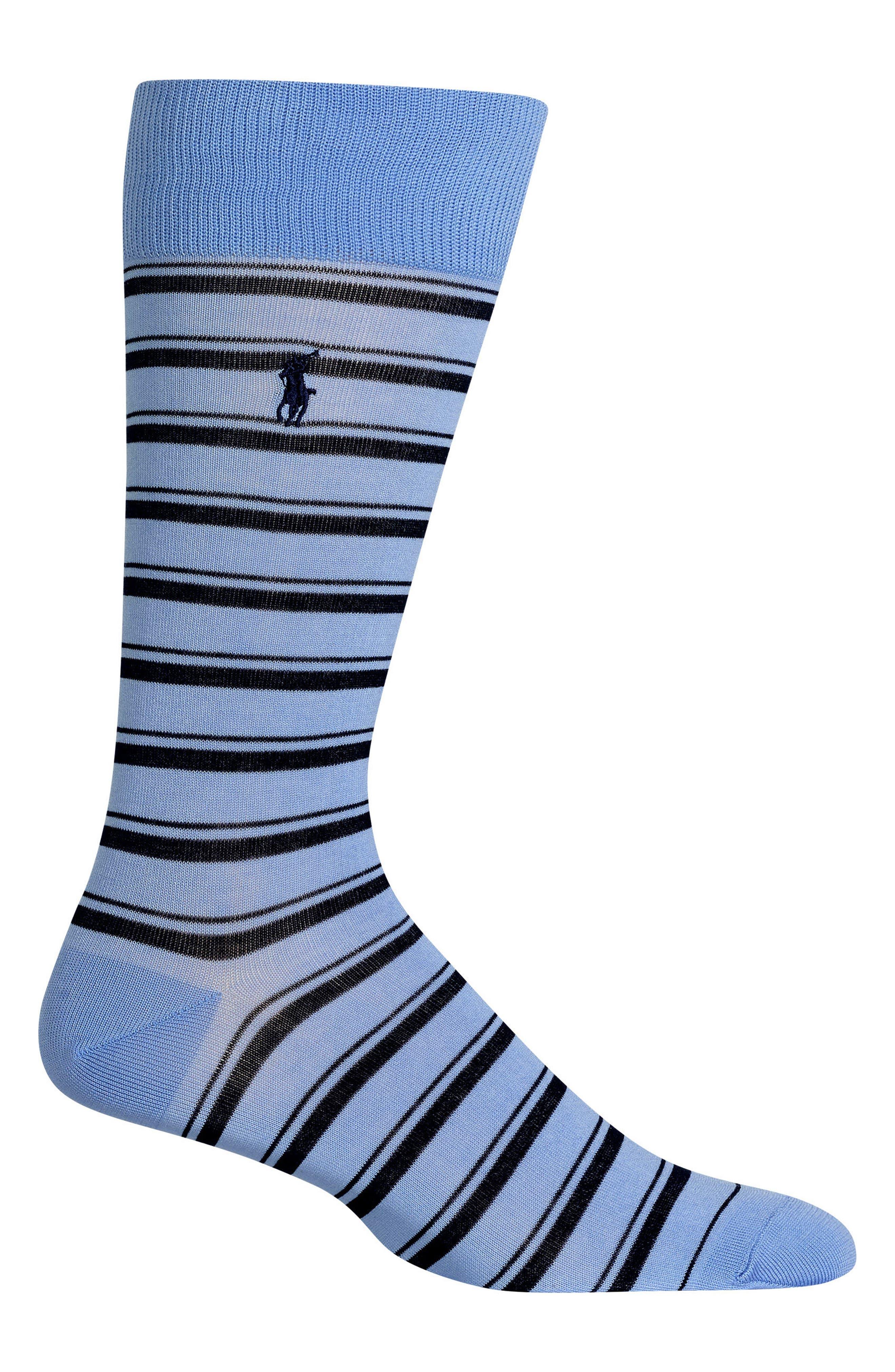Ralph Lauren Stripe Socks,                             Main thumbnail 1, color,                             LIGHT BLUE