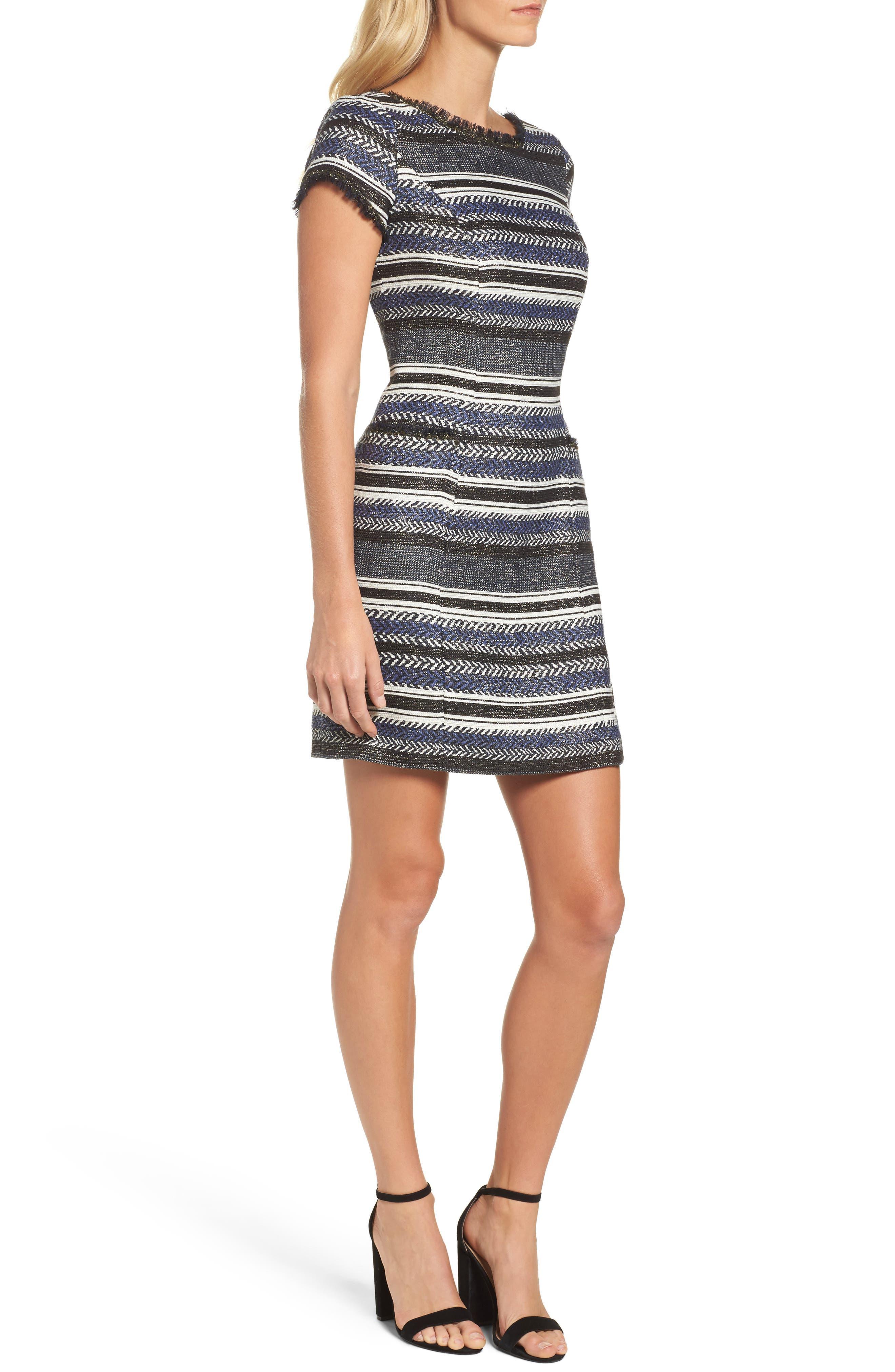 Stripe Sheath Dress,                             Alternate thumbnail 3, color,                             400