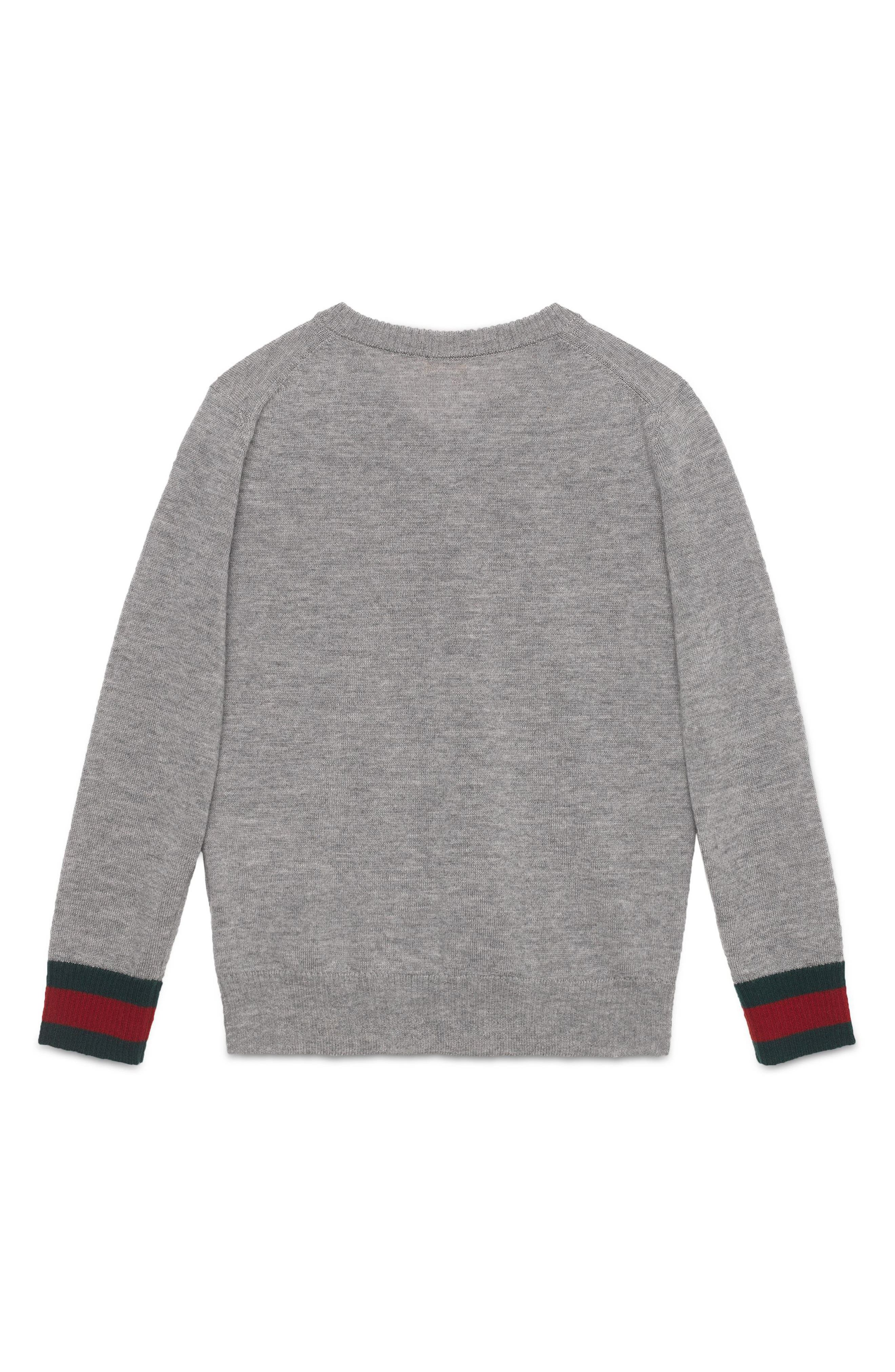 Stripe Cuff V-Neck Merino Wool Sweater,                             Alternate thumbnail 3, color,                             GREY MULTI