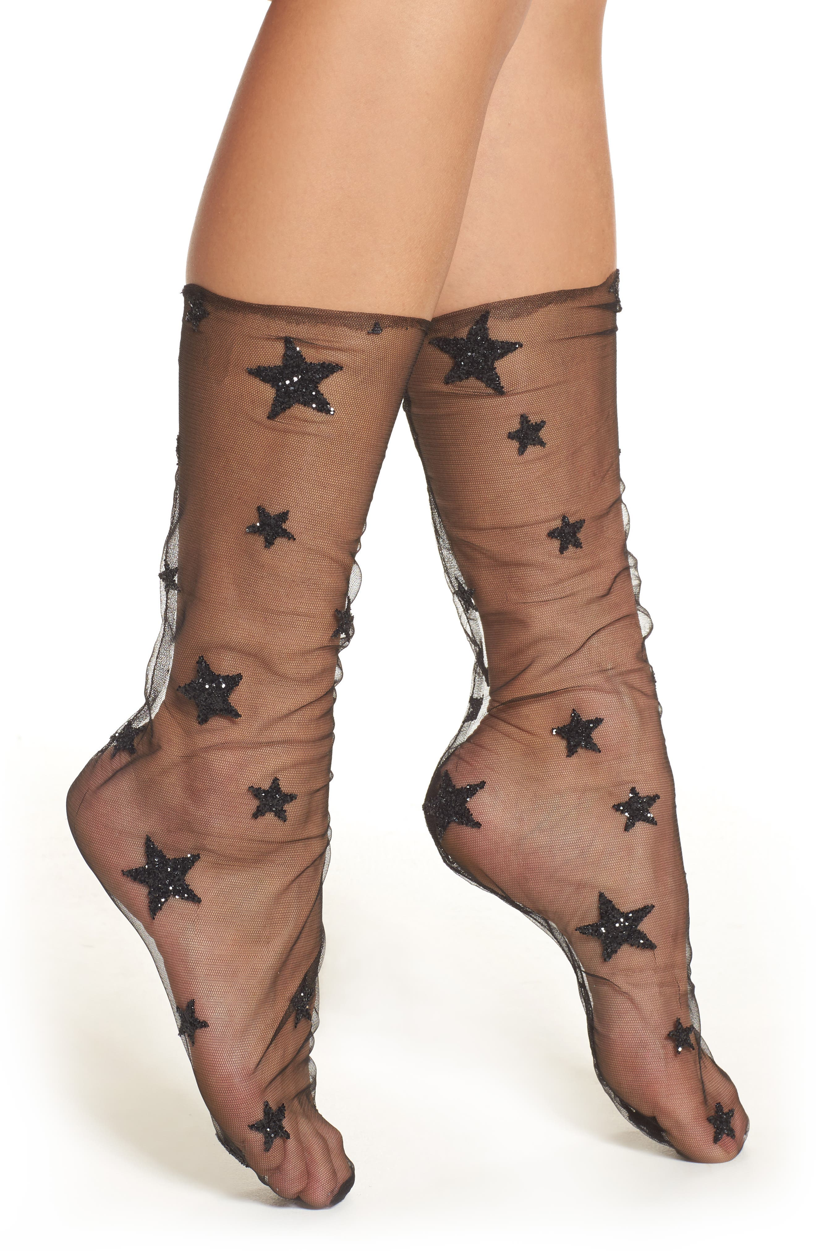 Glittery Star Tulle Socks,                             Main thumbnail 1, color,                             BLACK