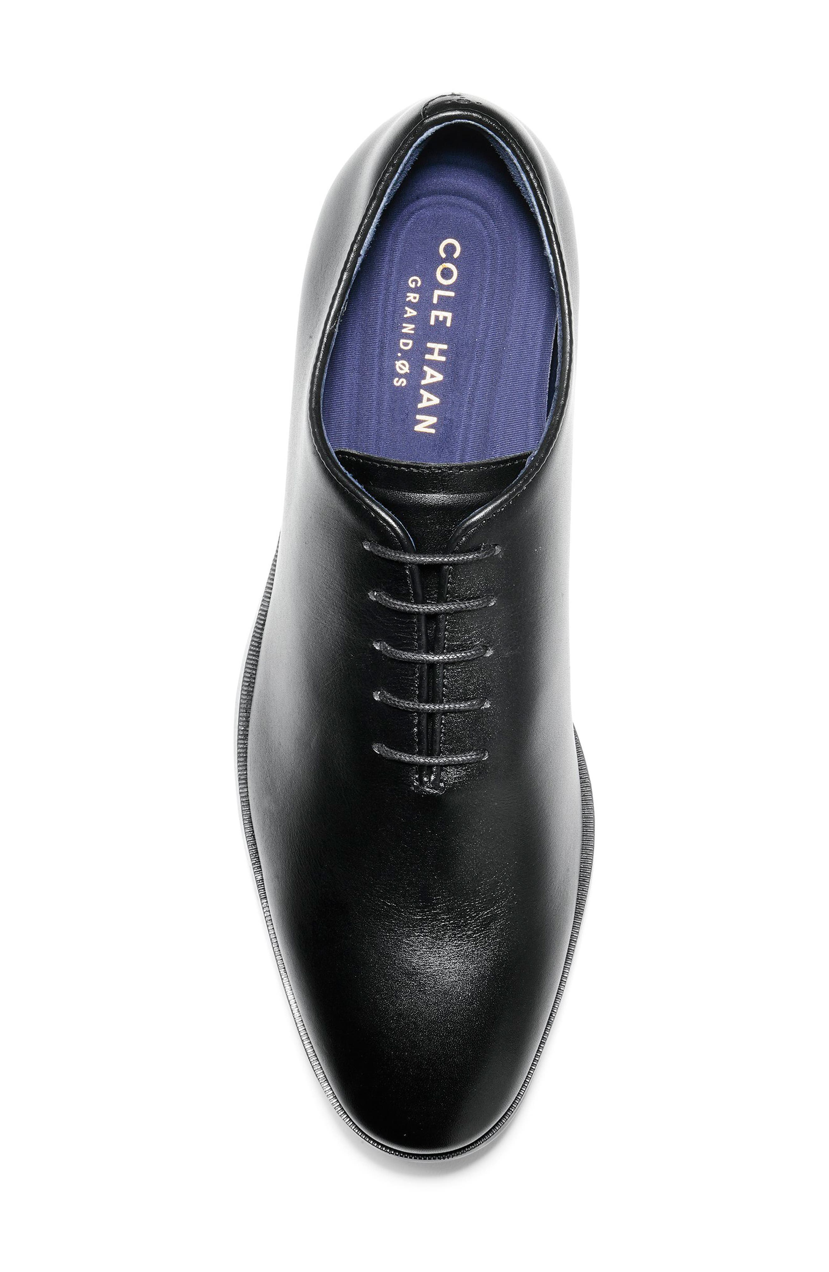 Jefferson Waterproof Wholecut Oxford,                             Alternate thumbnail 5, color,                             BLACK LEATHER